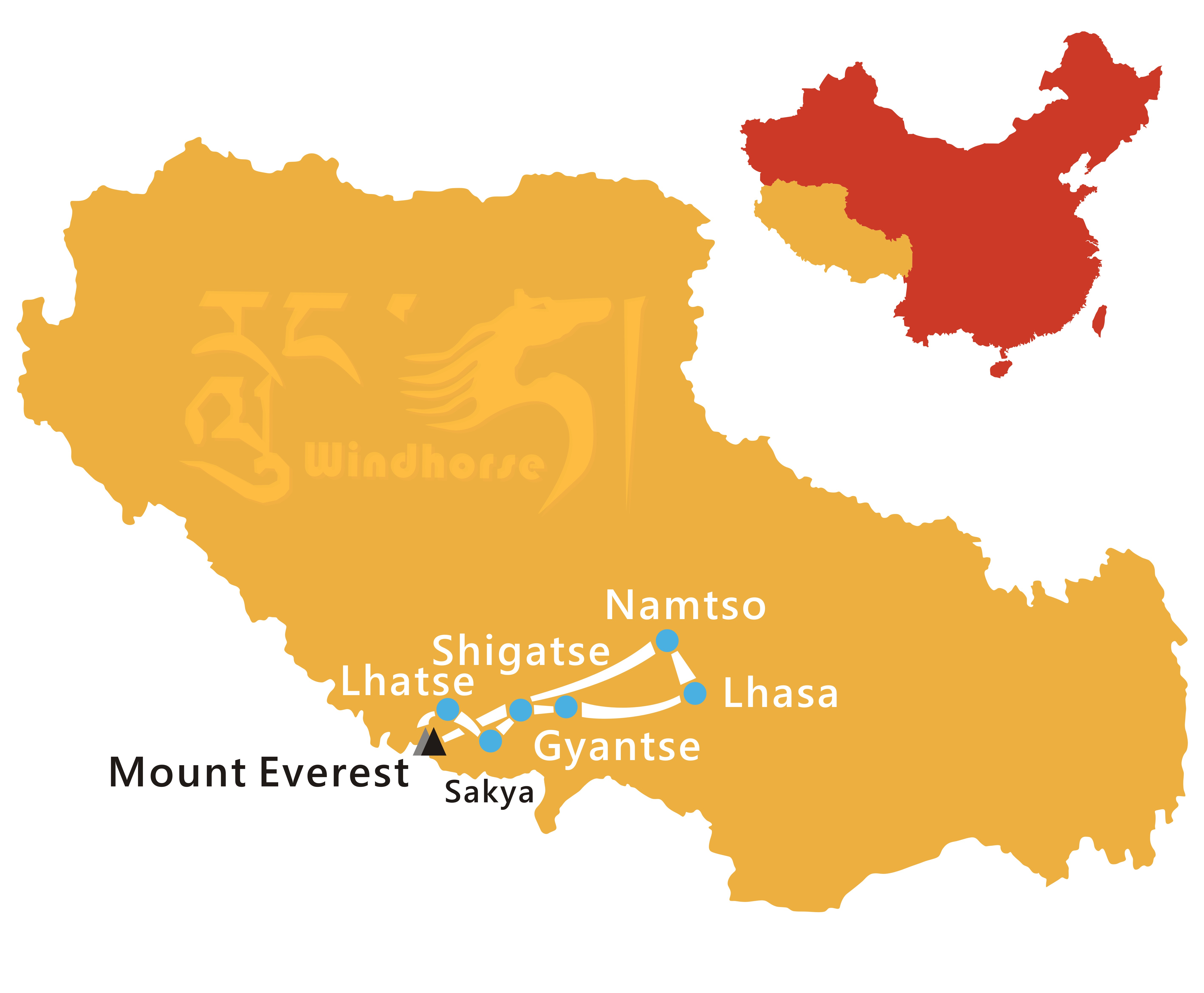 Mount Everest with Namtso Tour Route