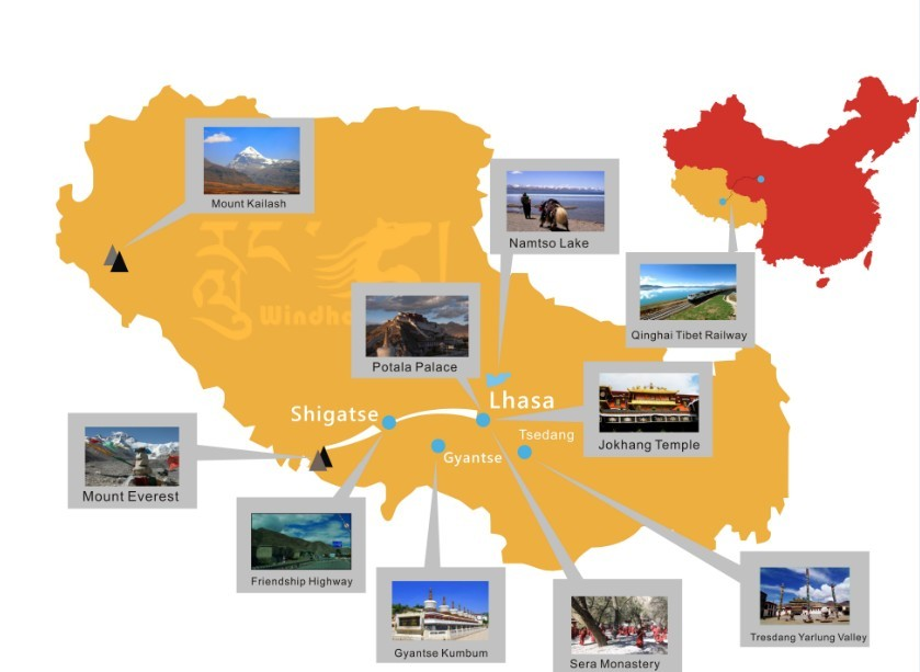 Top 10 Places in Tibet Map