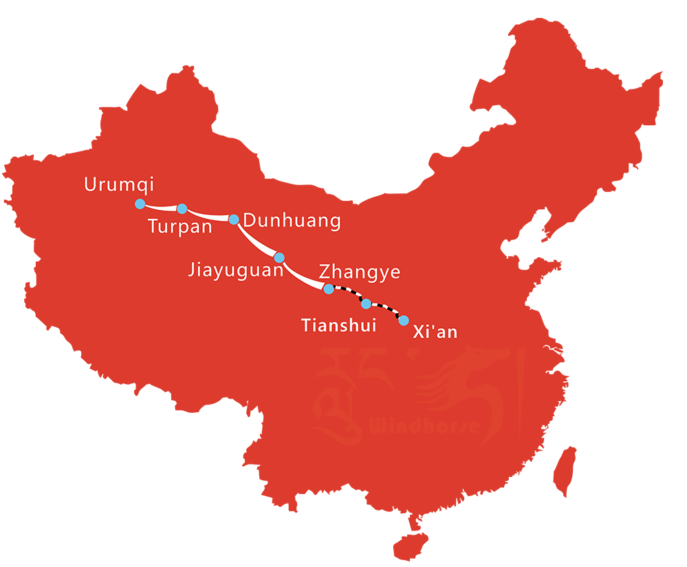 Map of 12 Day Classic Silk Road Tour