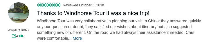 Client's China trip review on WindhorseTour TripAdvisor