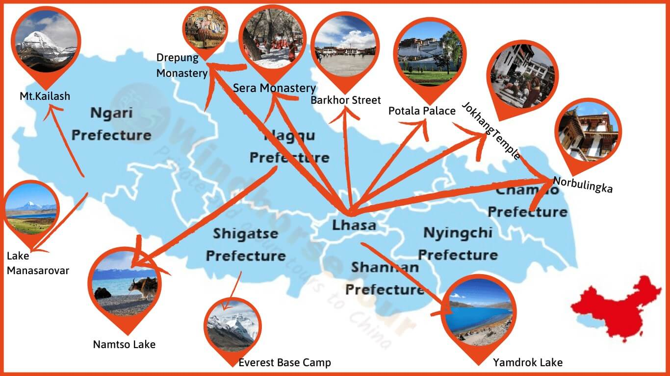Tibet Tourist Map with Attractions locations for new Travelers