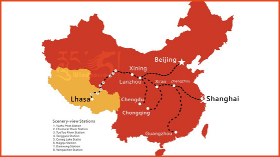 Travel map of Qinghai Tibet Railway