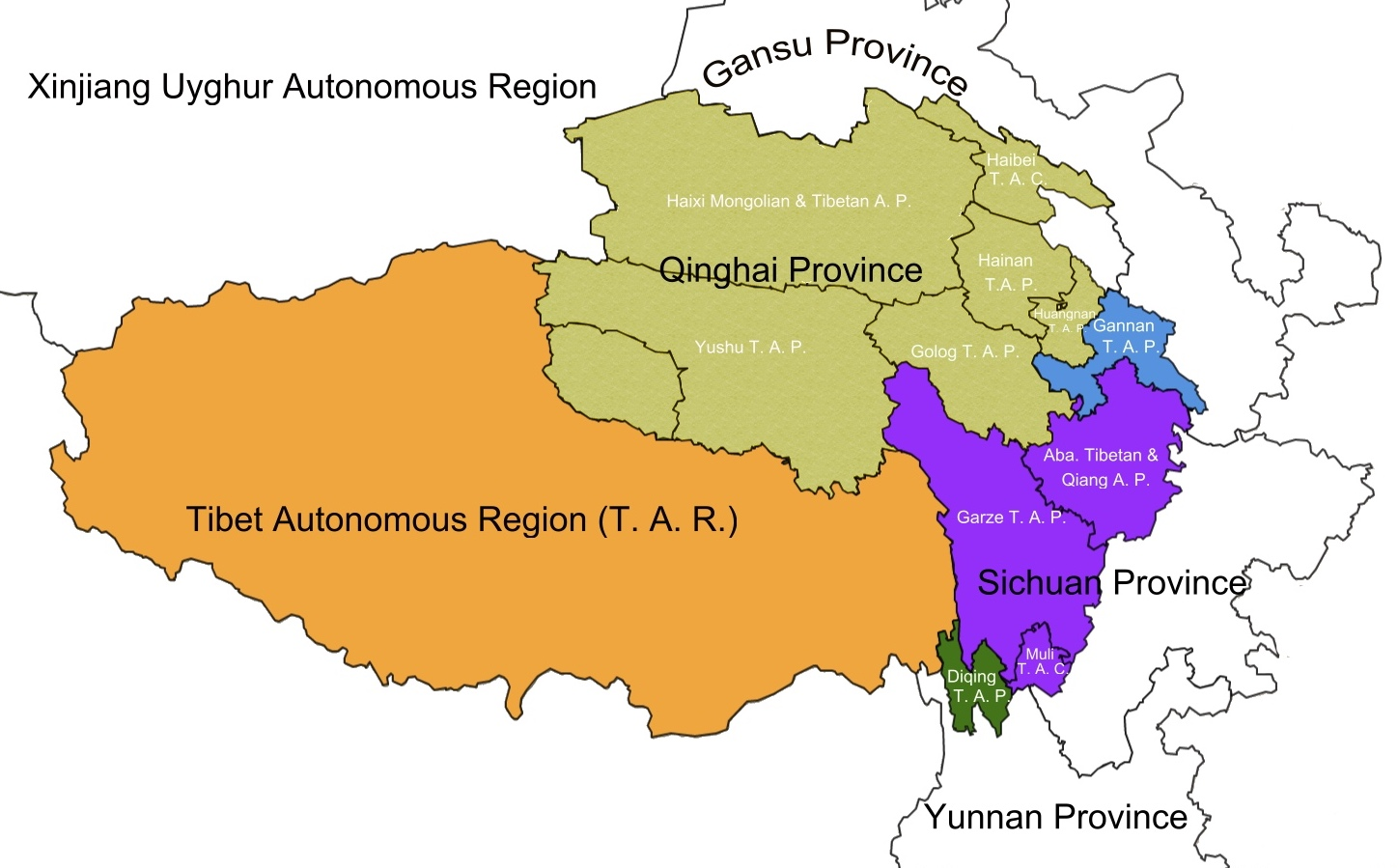 5 tibetan provinces/Administration Districts distribution