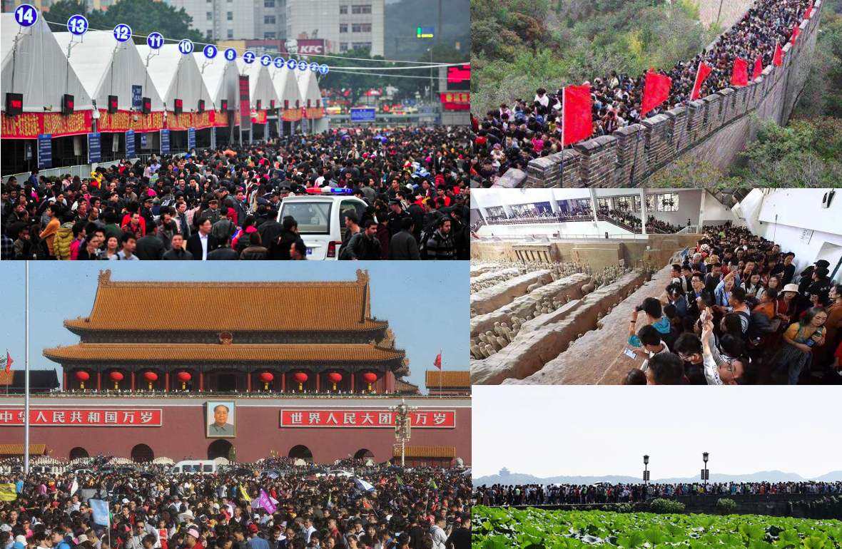 Tourist crowds during October golden week in China