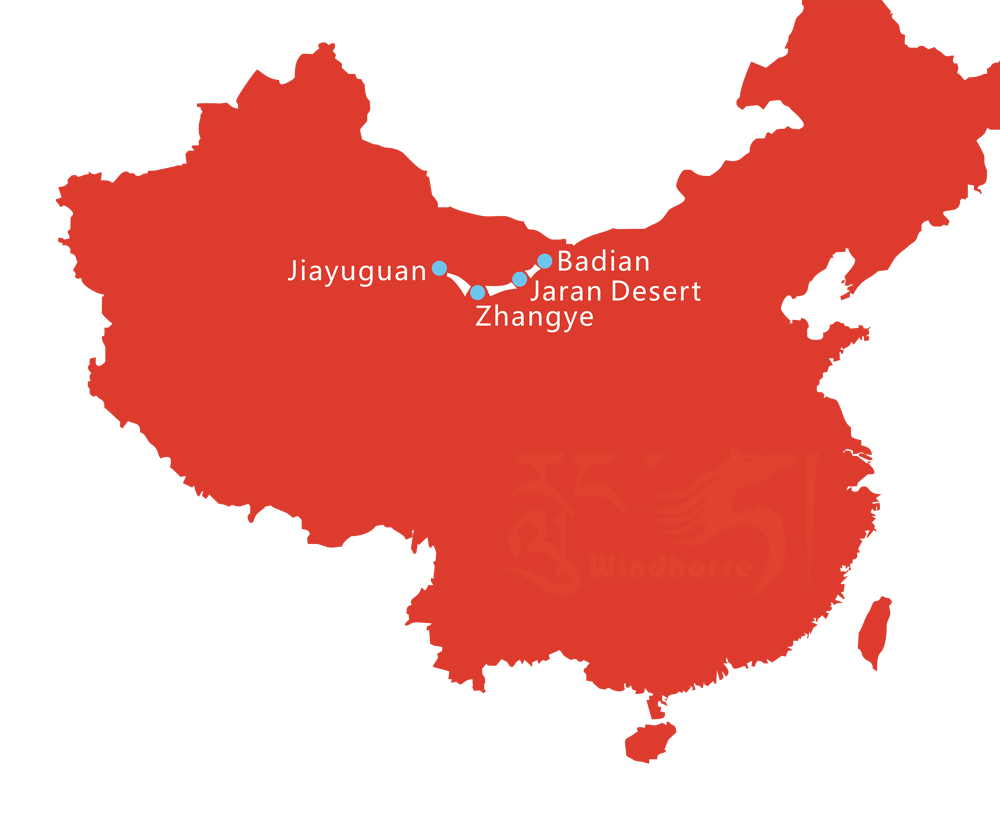 Map of 5 Day Zhangye Danxia and Badain Jaran Desert