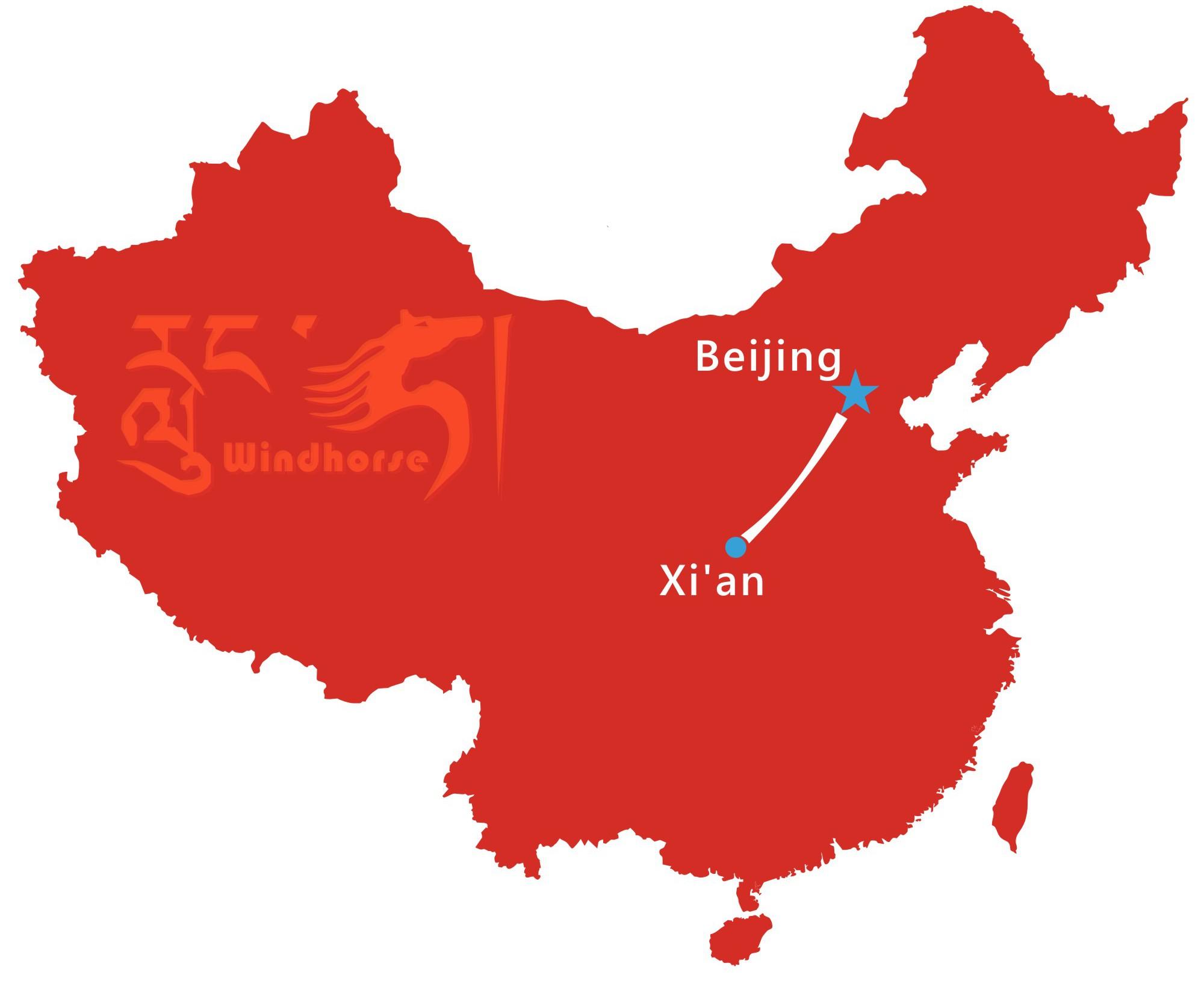 Beijing Xi'an Train Tour Map