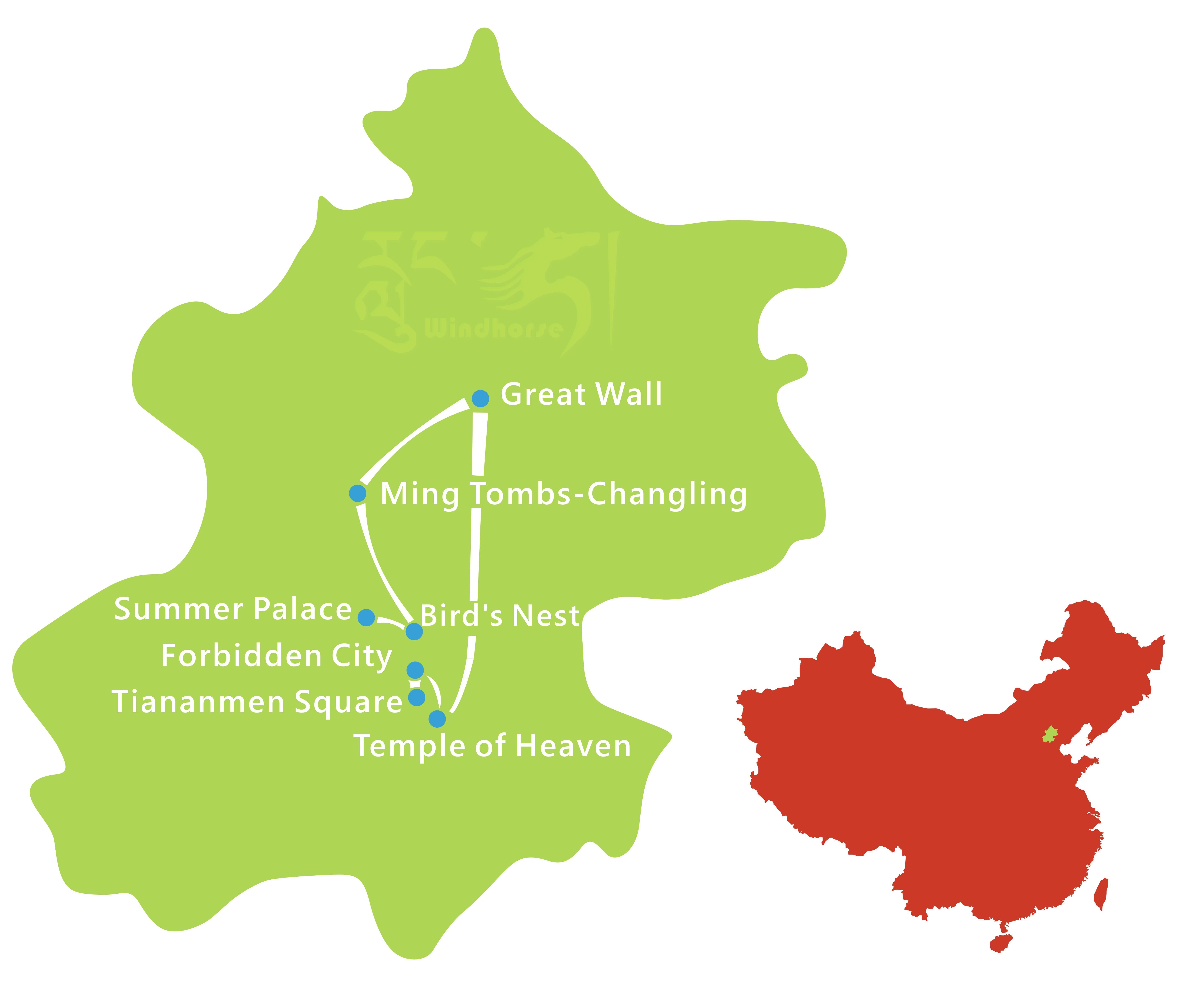 Beijing In Depth Tour Route
