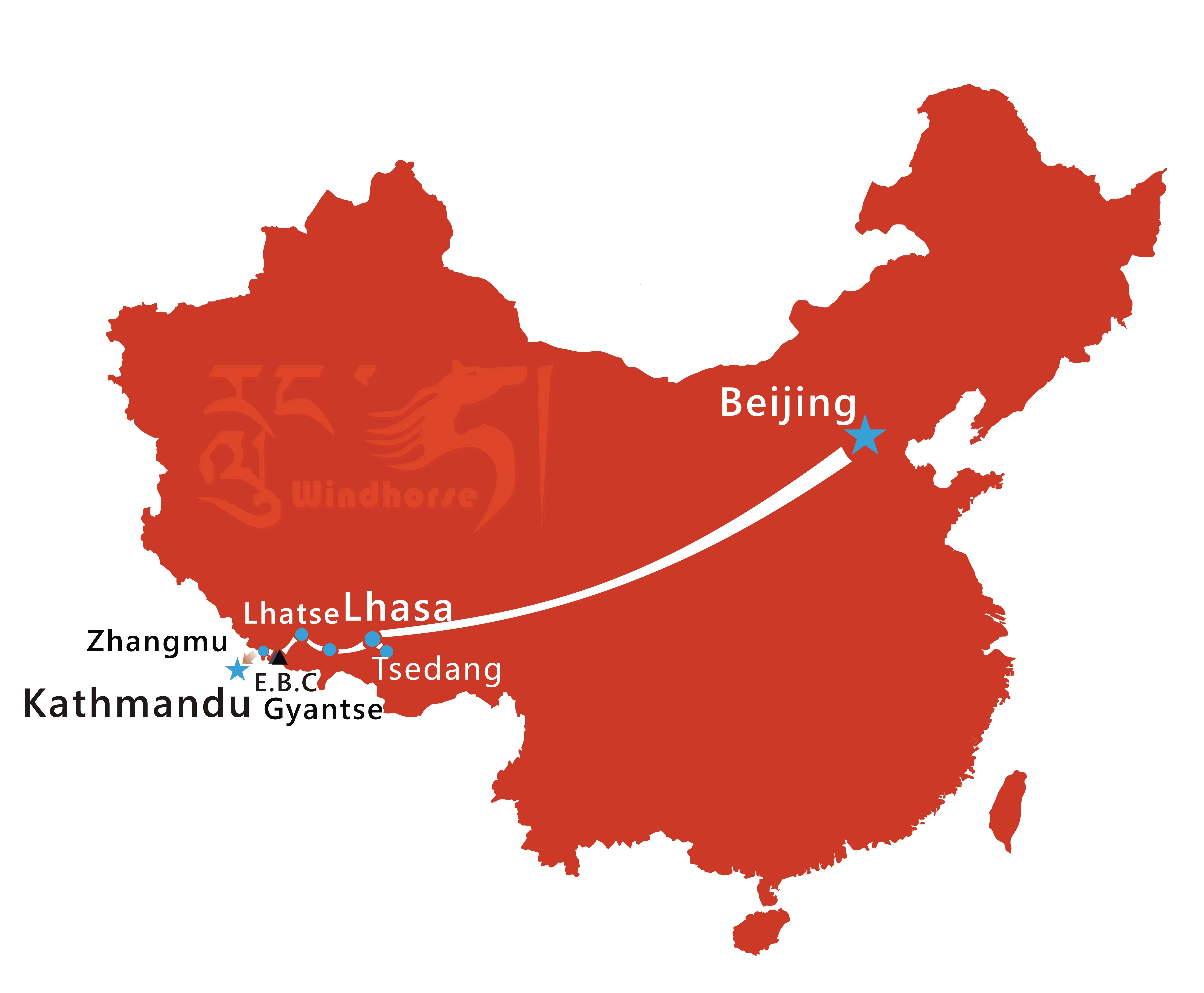 Beijing Lhasa Kathmandu Tour Route