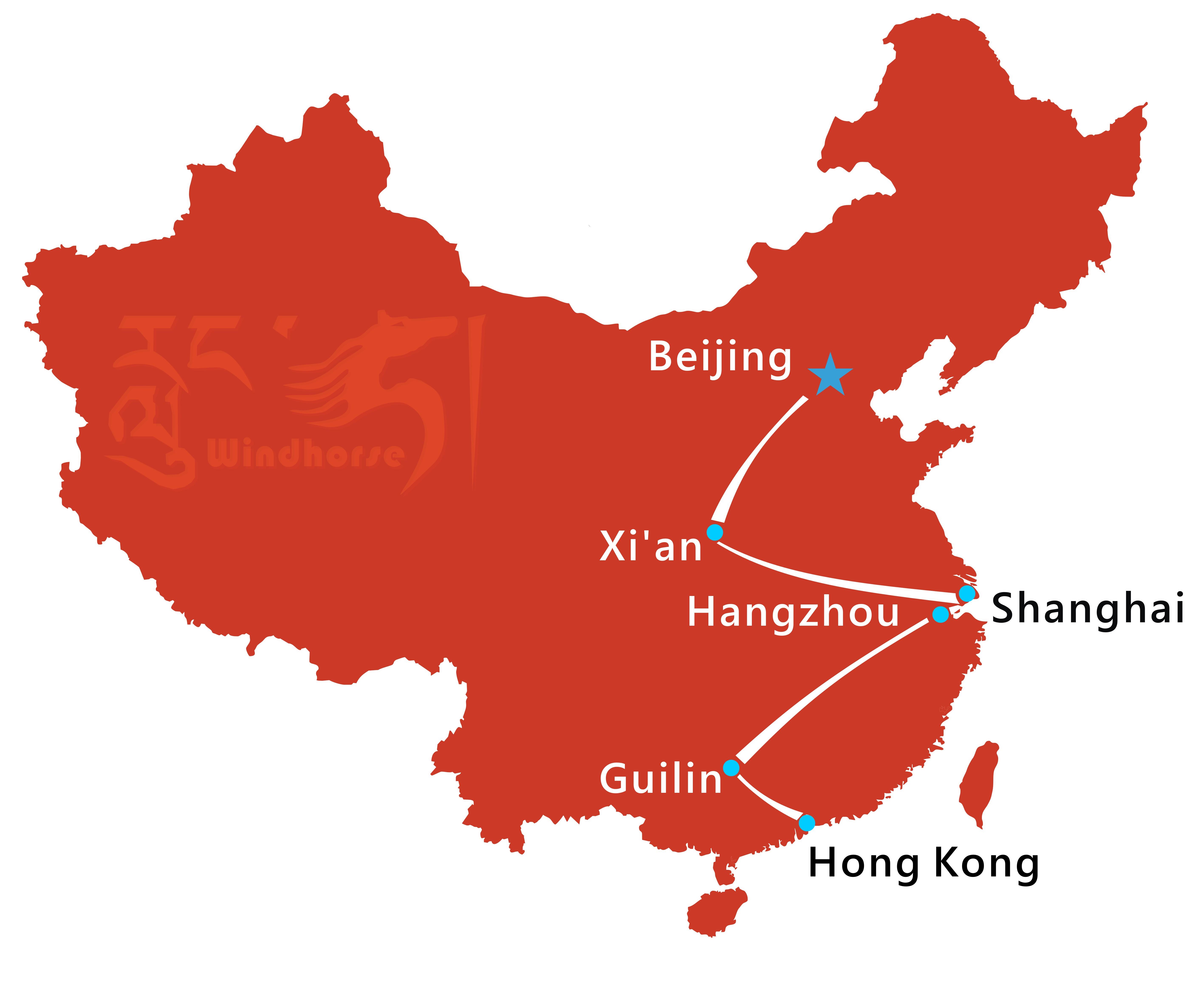Beijing Shanghai Hongkong Tour Route