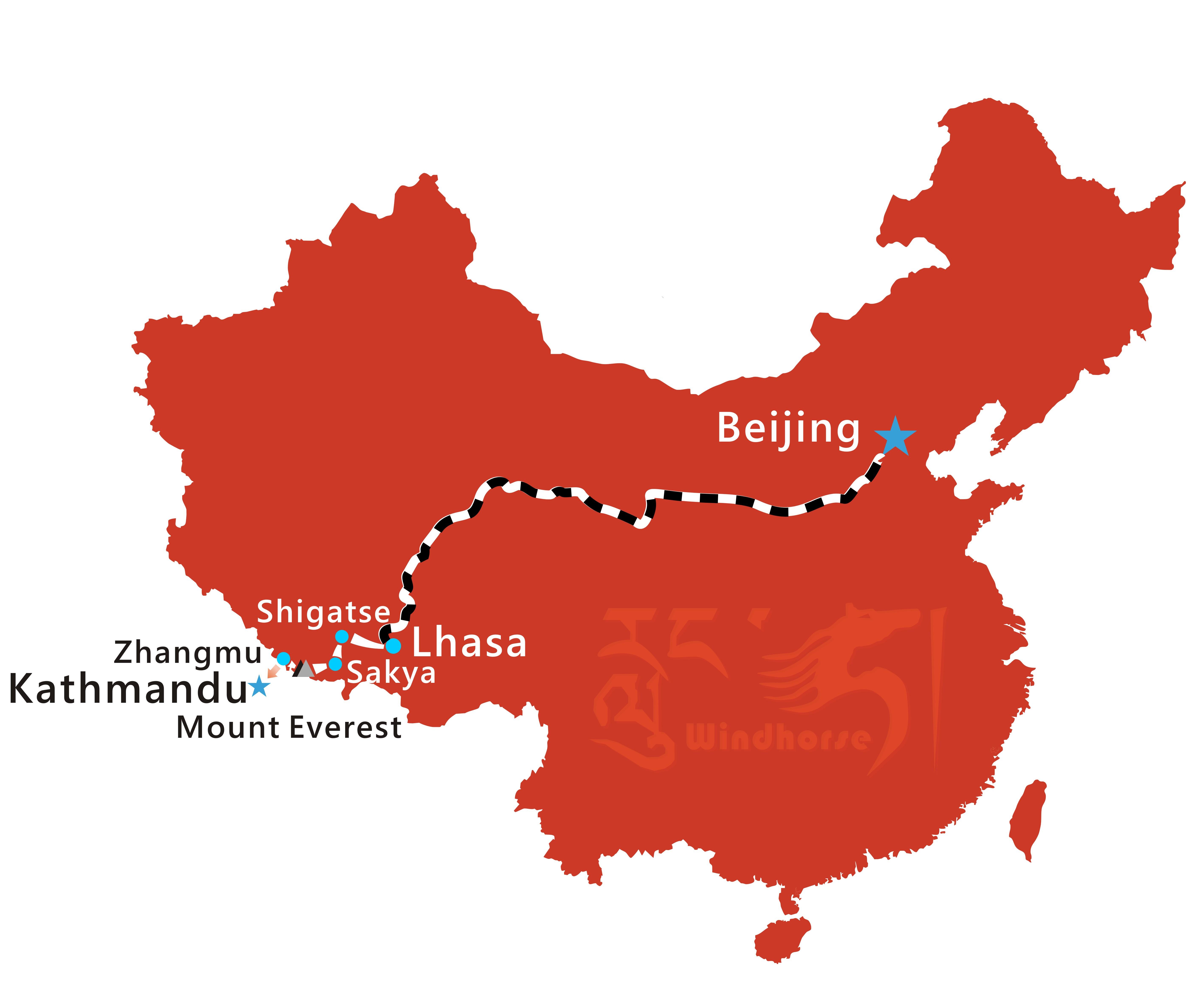 Beijing to Tibet Train Tour Route