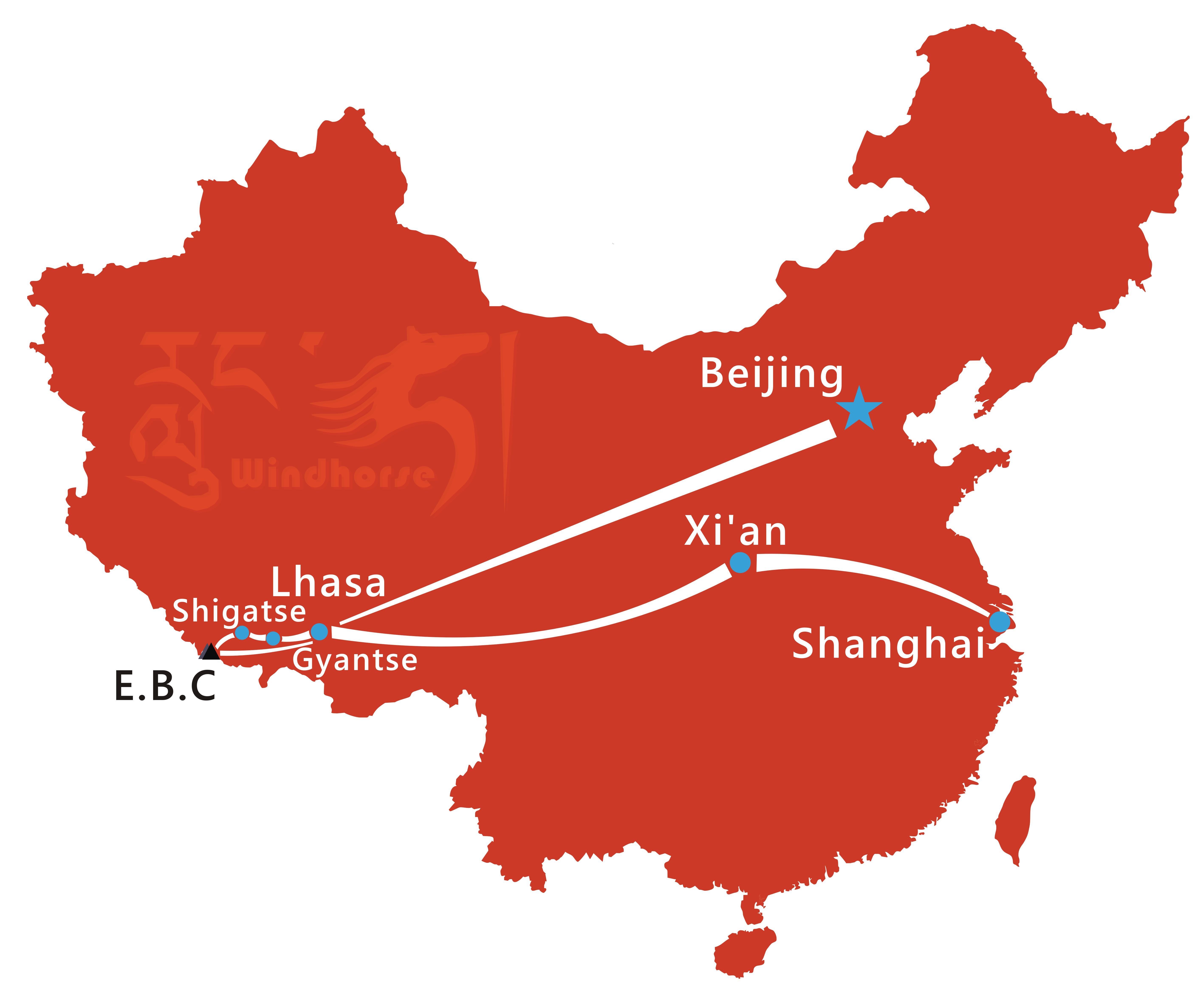 Beijing to Tibet Tour Route