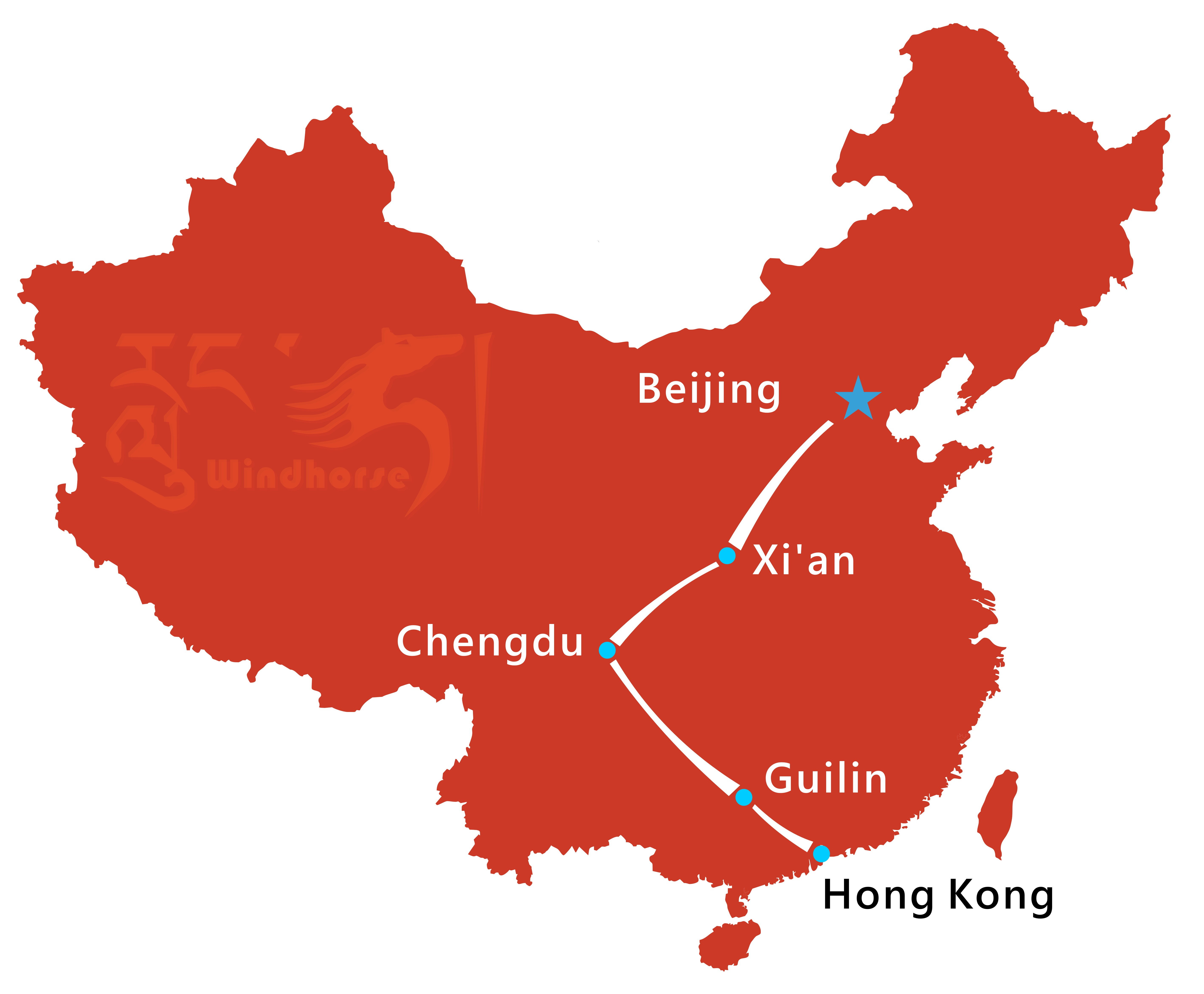 Beijing Xian Guilin Tour Route