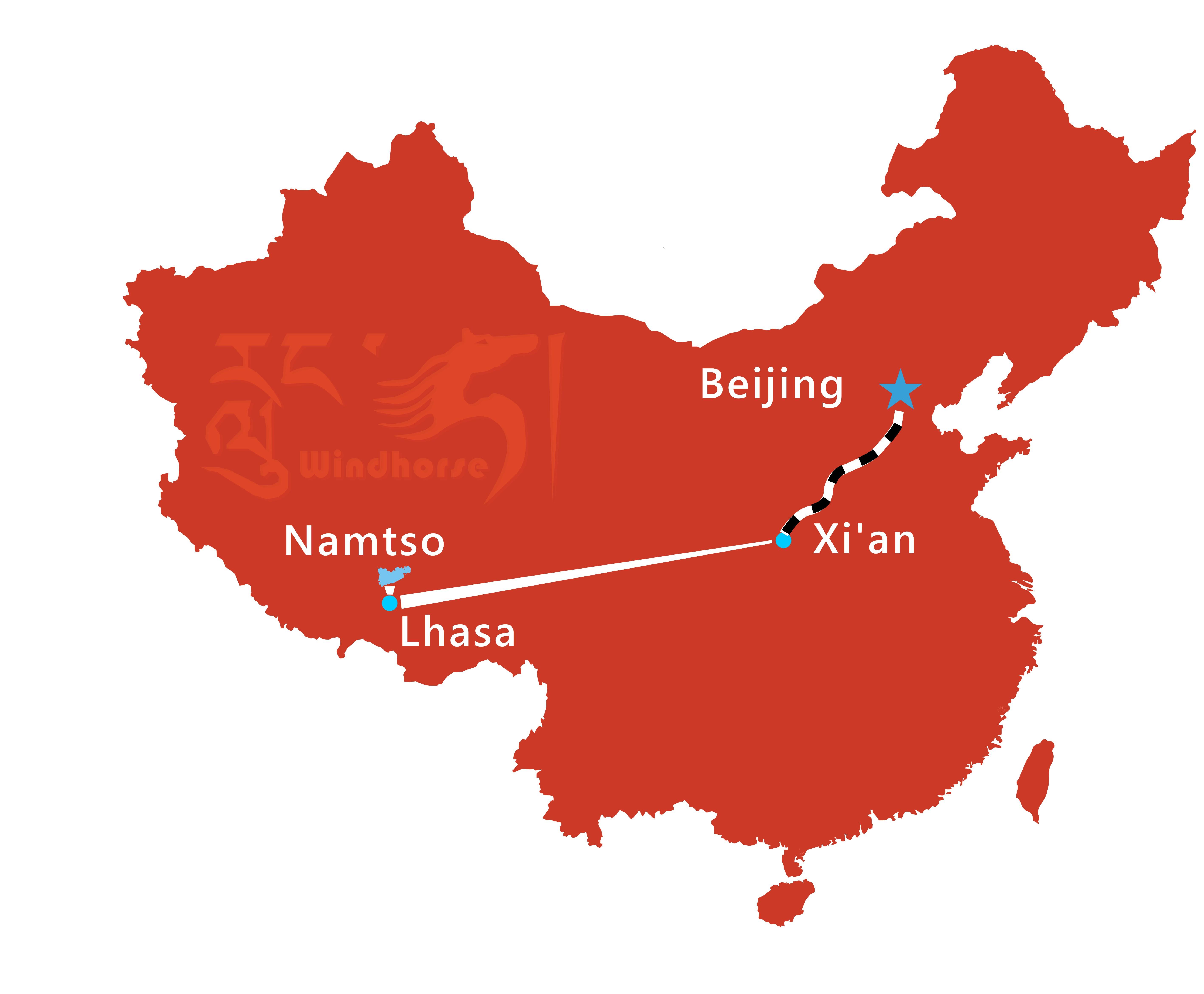 Beijing Xi'an Lhasa Train Tour Route