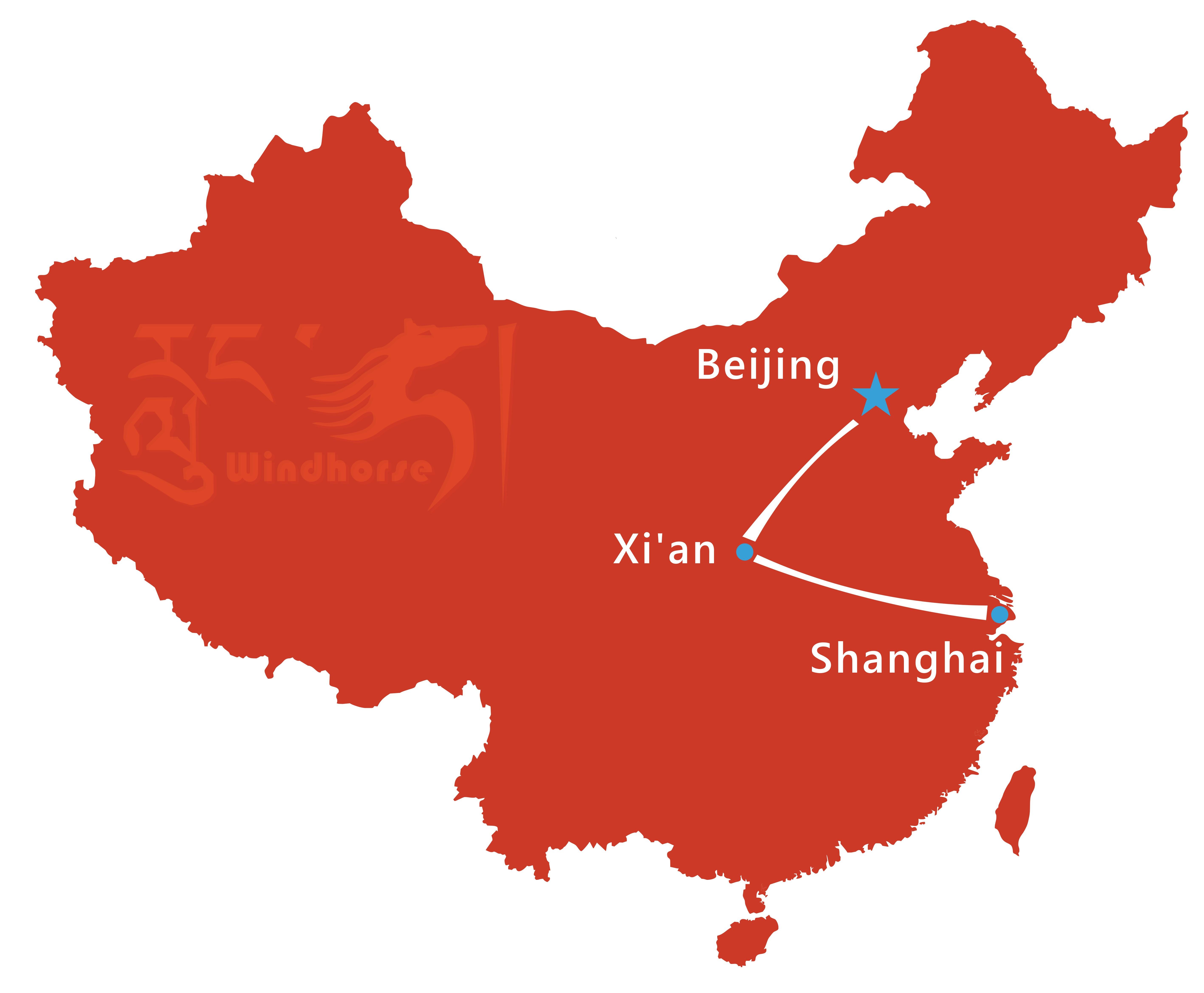 Beijing Xian Shanghai Tour Route