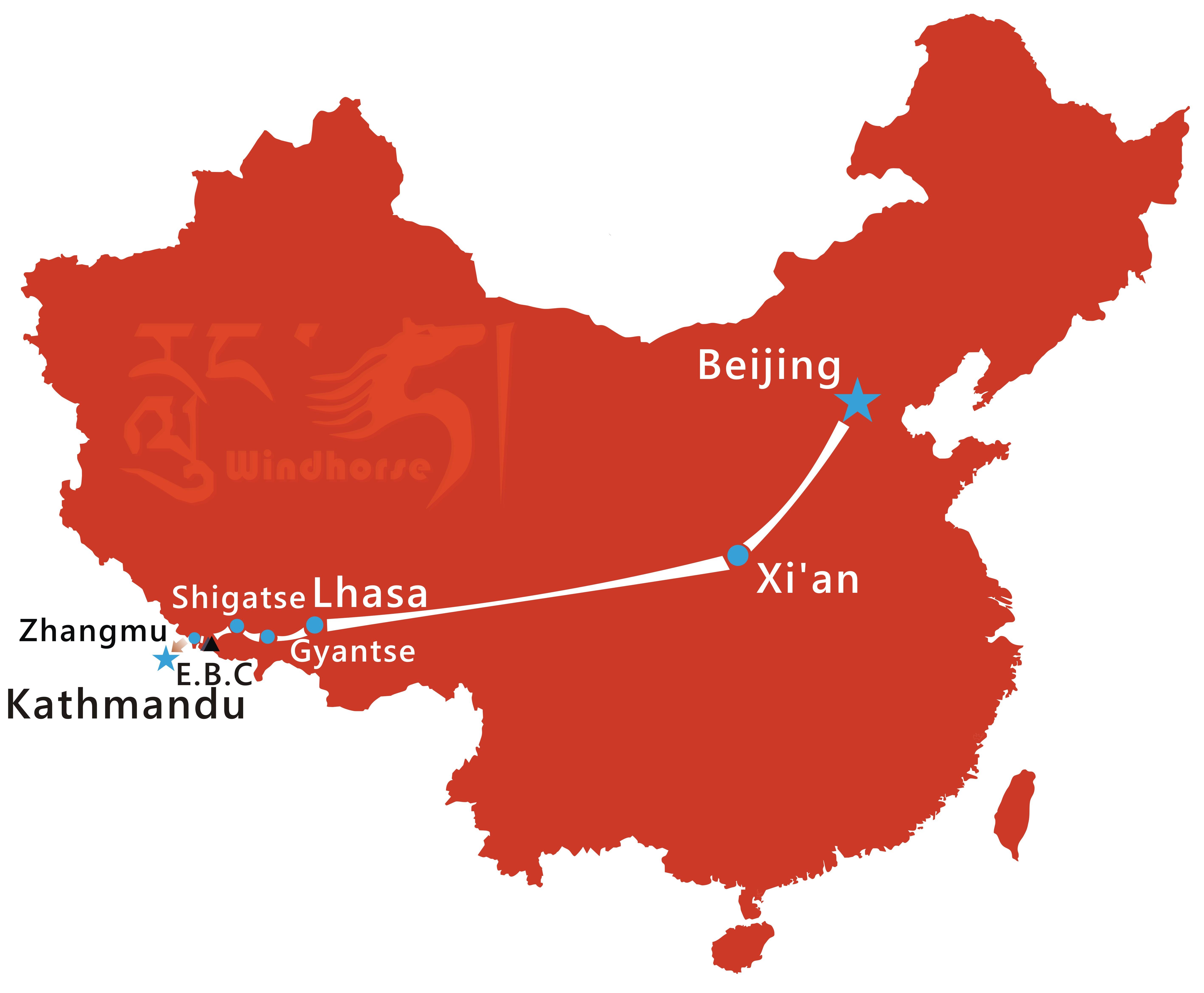 Beijing Xi'an Tibet Tour Route
