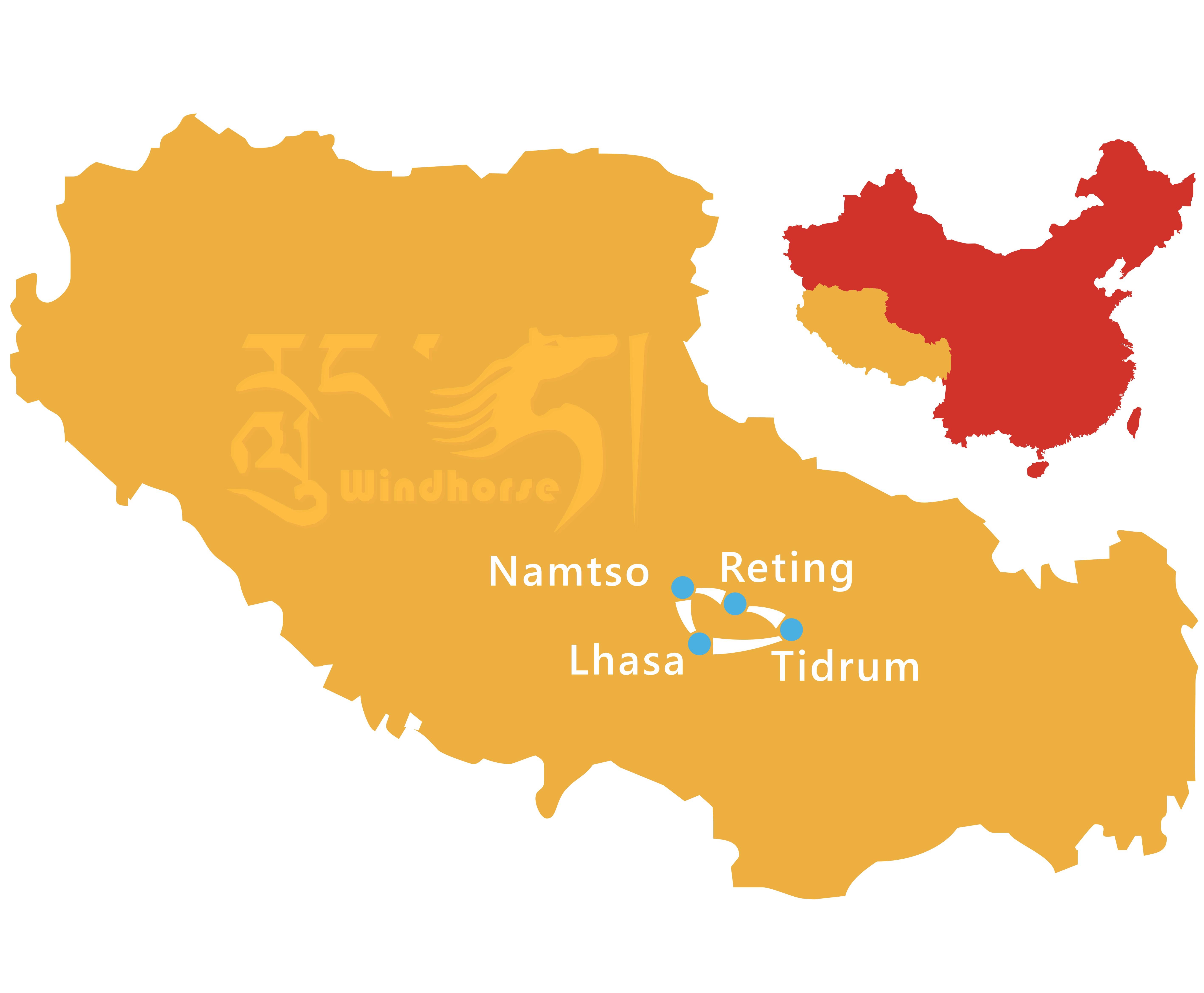 Central Tibet Tour Route