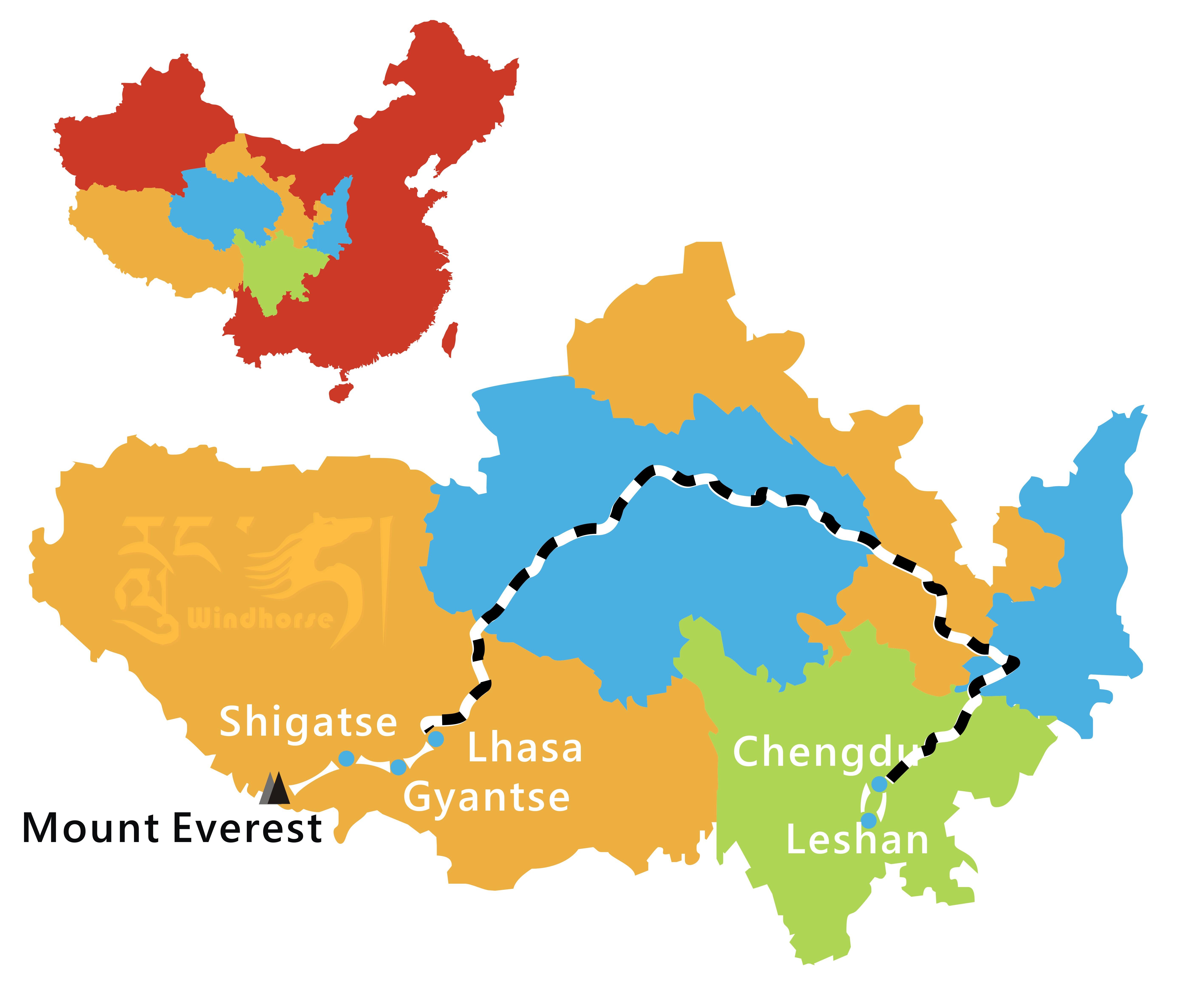 Chengdu Lhasa Train Tour Route