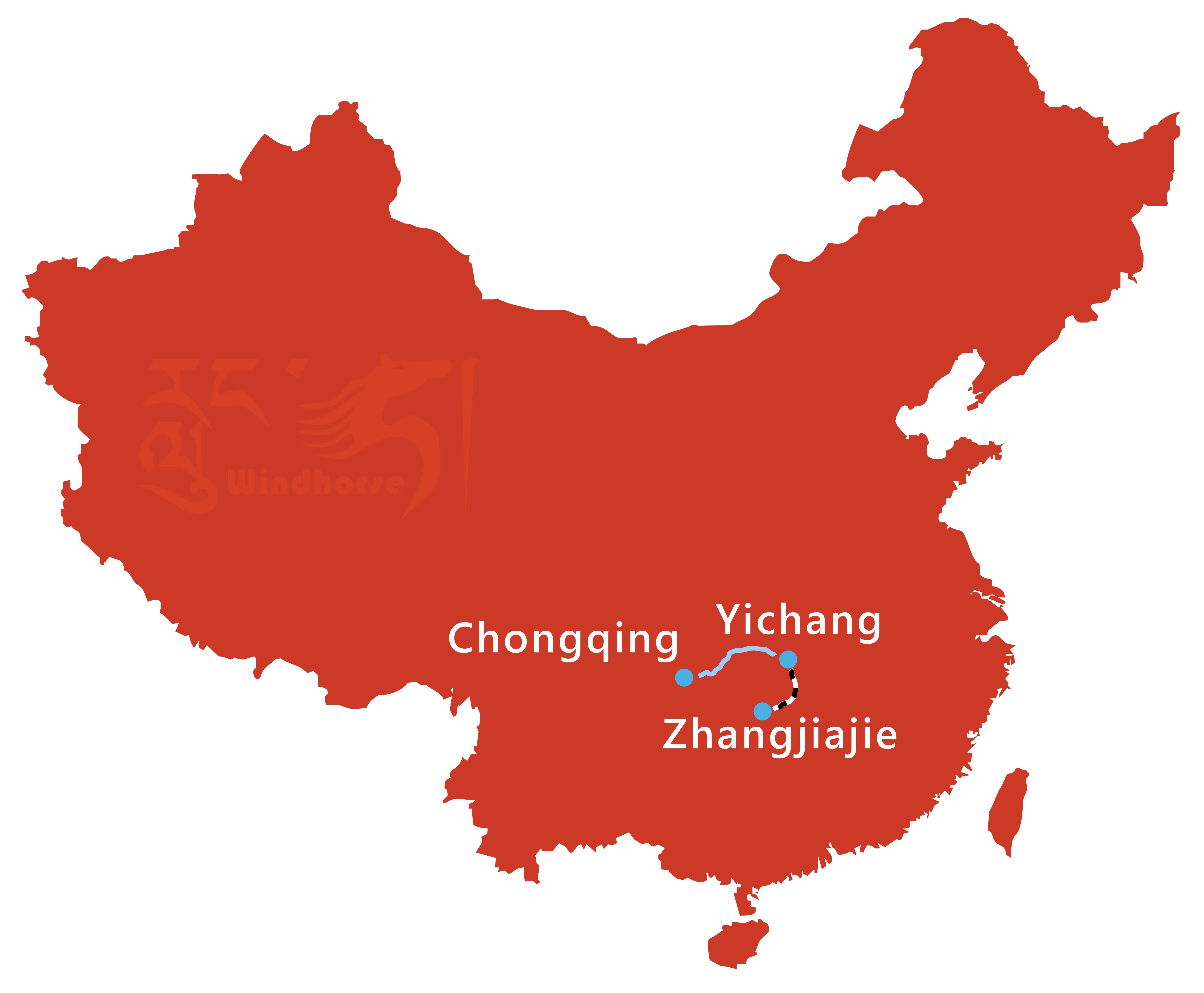 Yangtze Cruise and Jiuzhaigou Tour Route