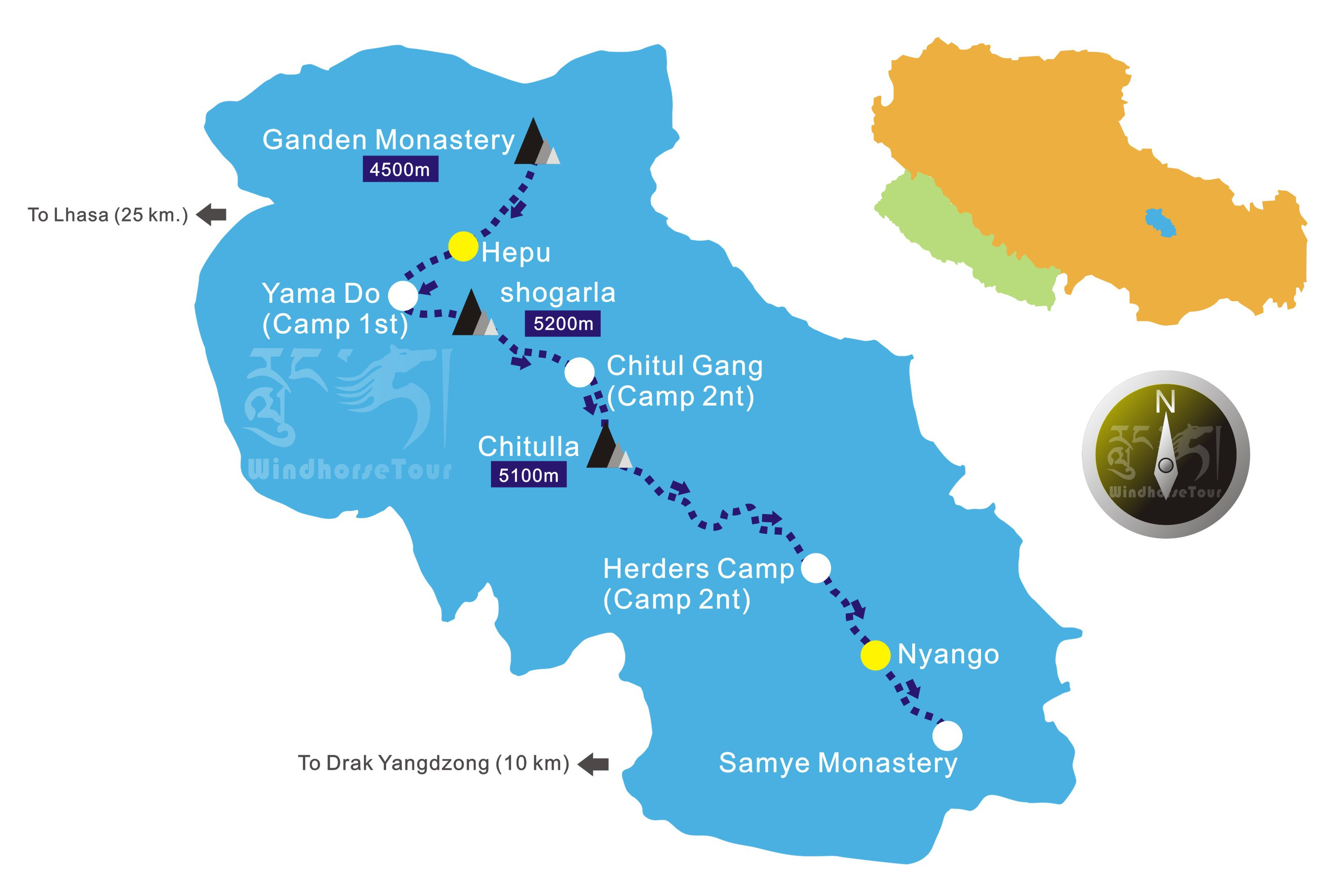 Map of Ganden to Samye trekking in Tibet.