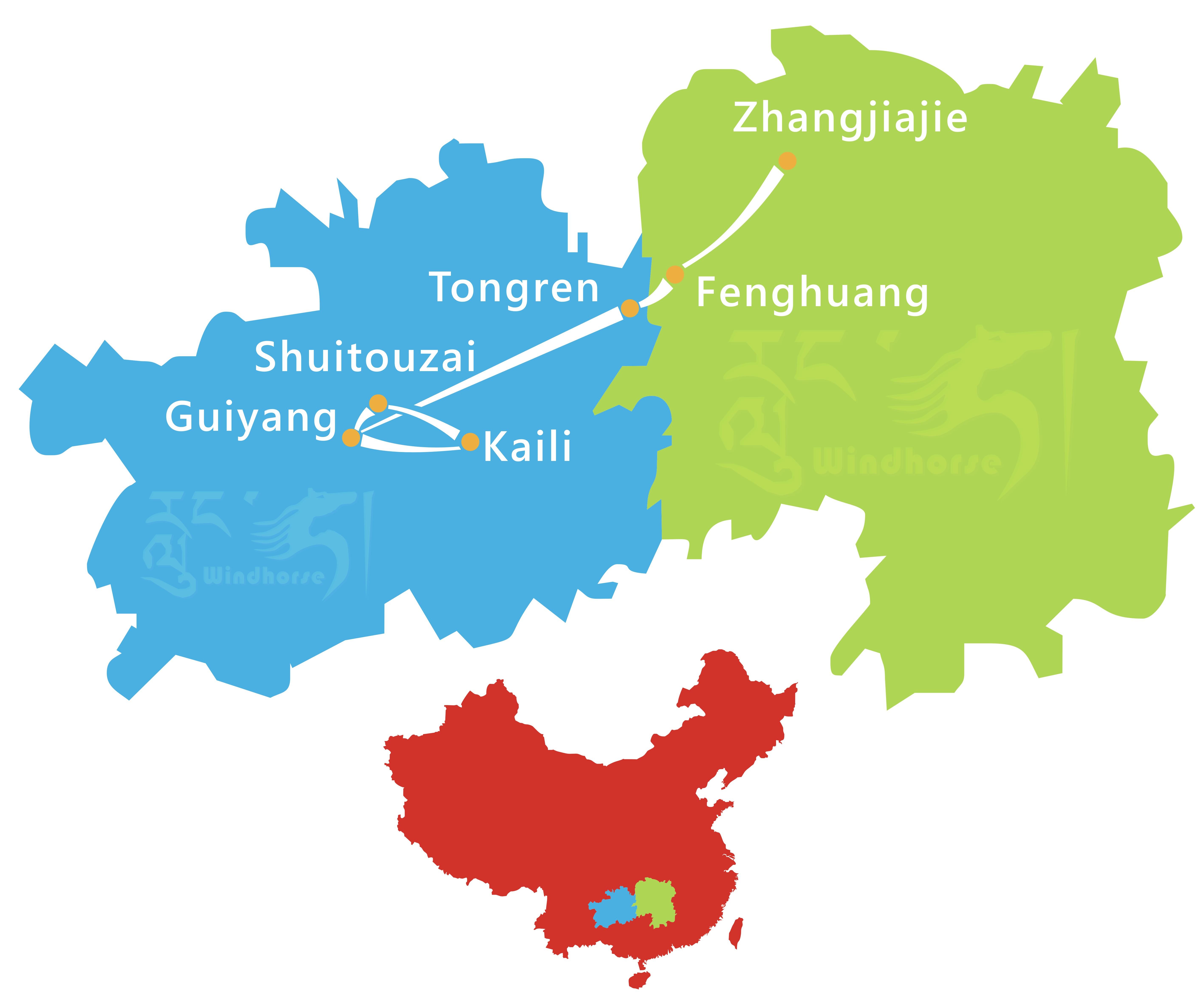 Guizhou Zhangjiajie Tour Route