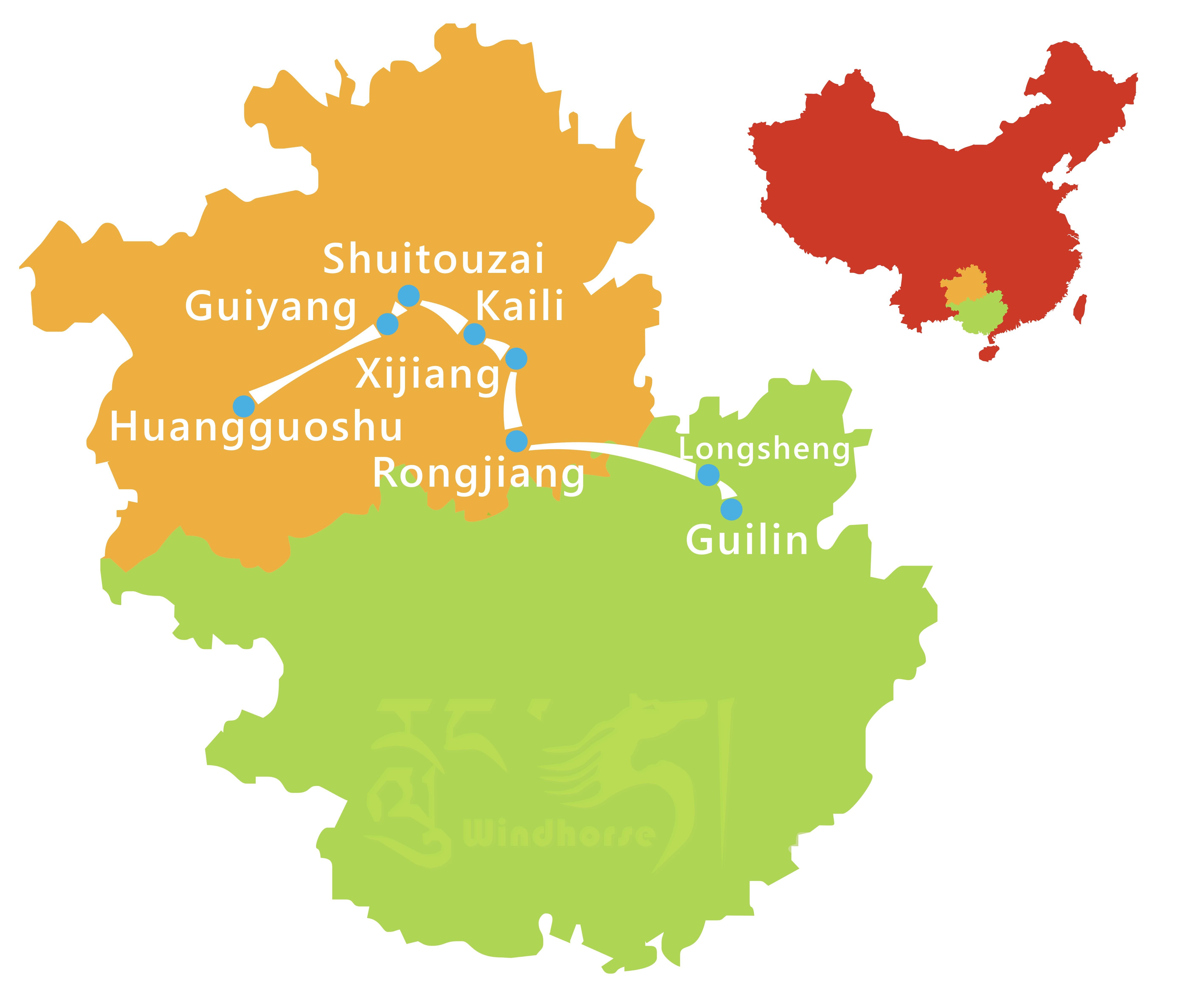Guizhou Guilin Minority Tour Route