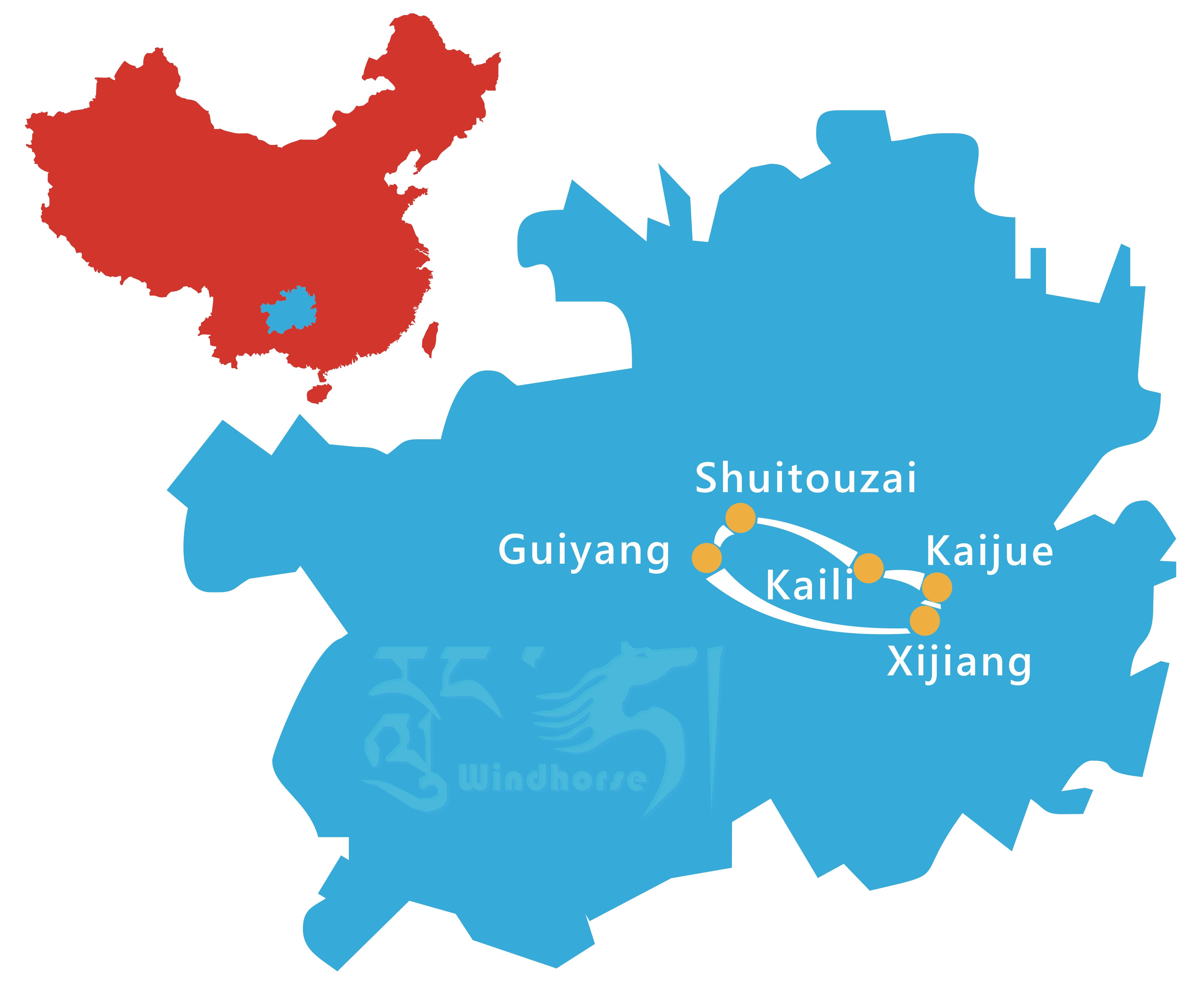 Guizhou Minority Tour Route