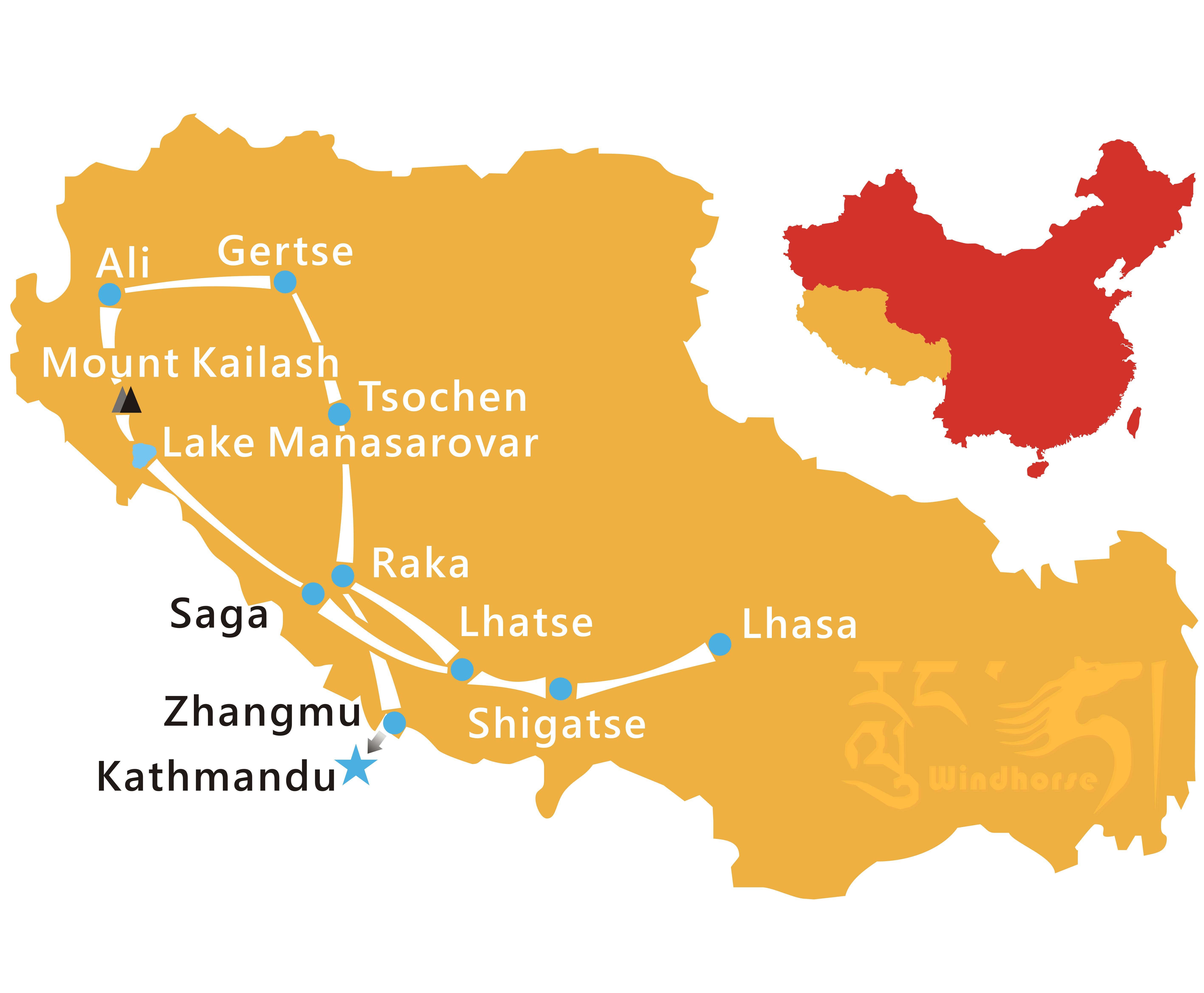 Holy Mountain Kailash Tour Route