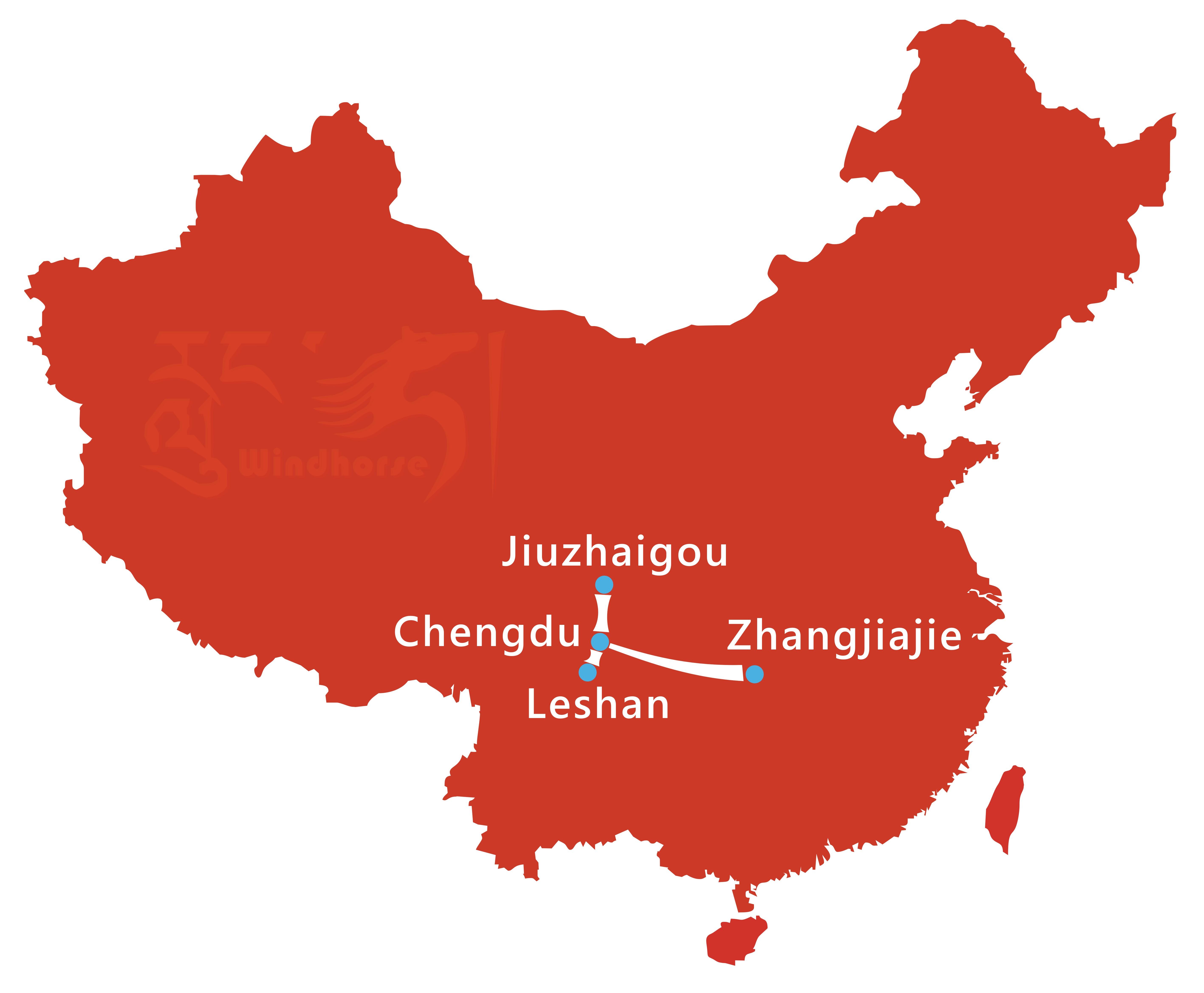 Jiuzhaigou Zhangjiajie Tour Route