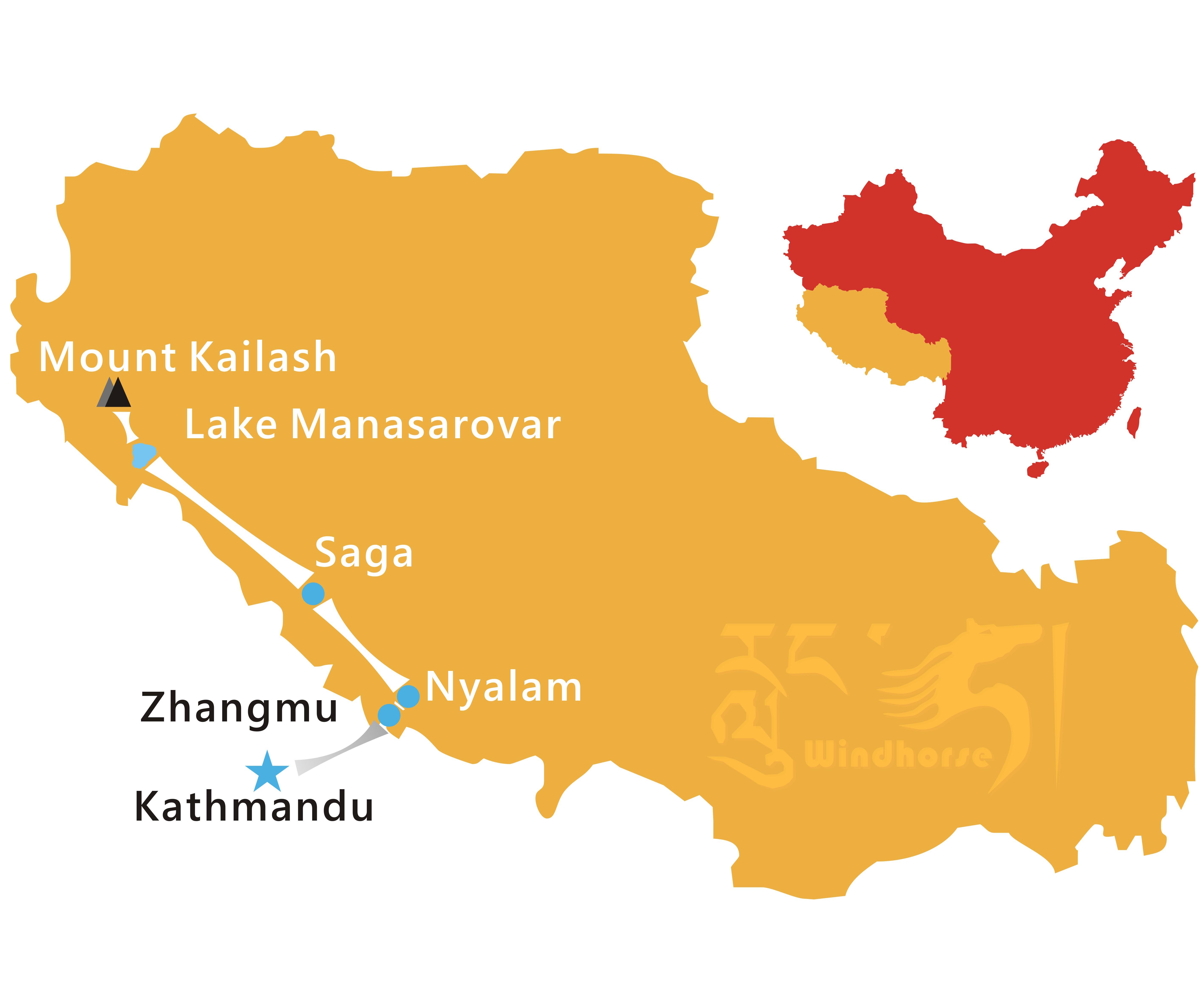 Kailash Kathmandu Overland Tour Route