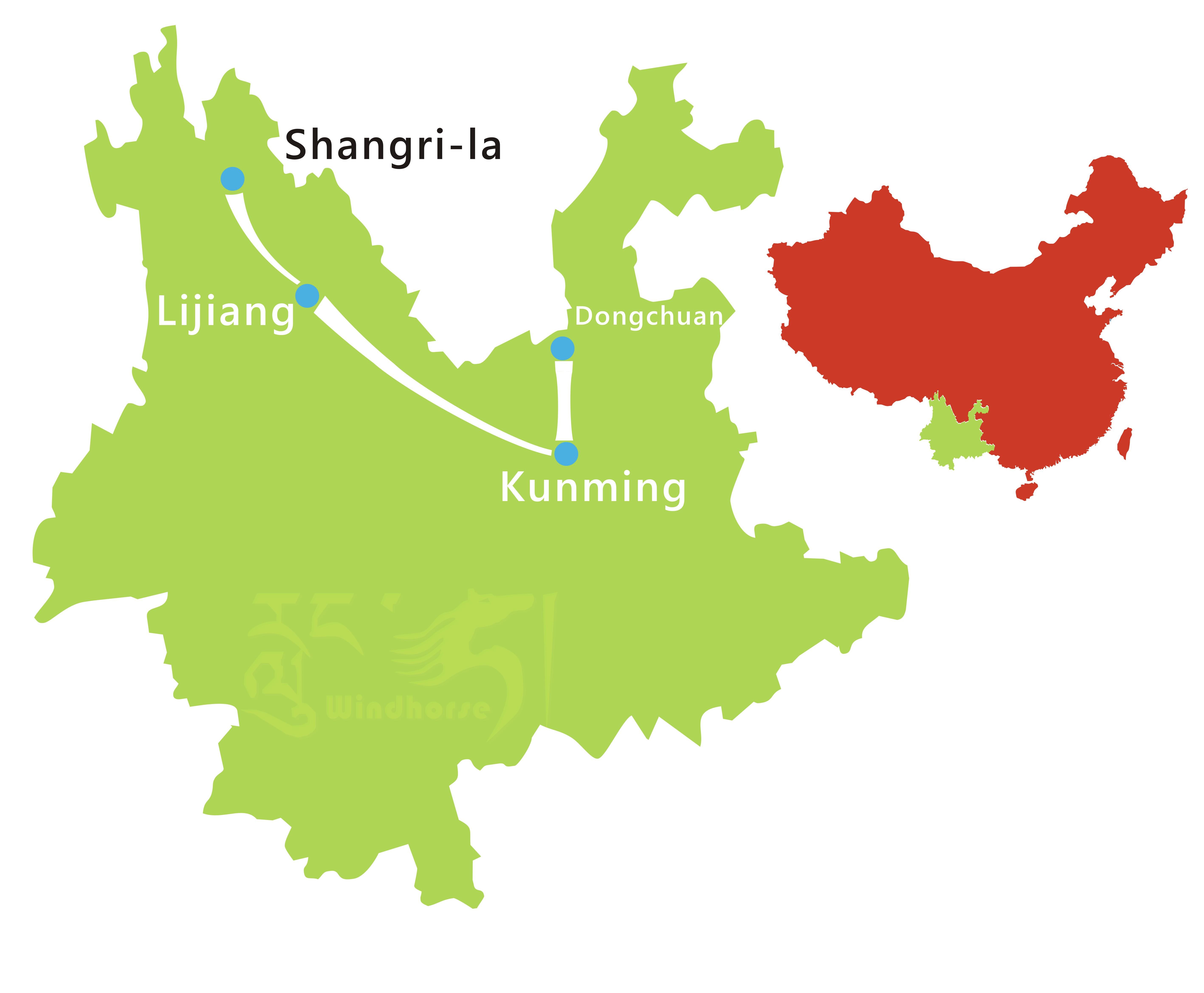 Kunming Lijiang Shangri-la Tour Route