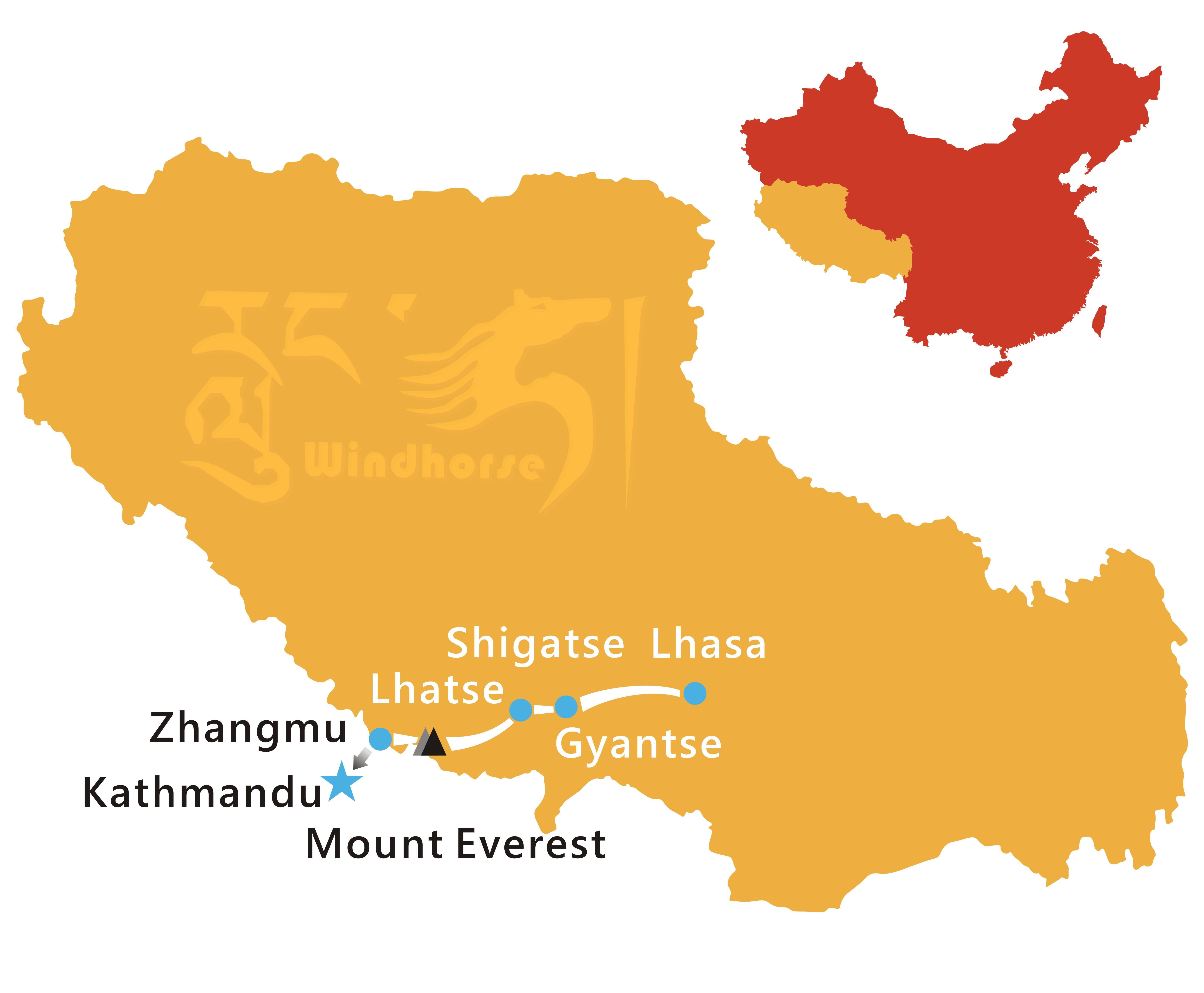 Lhasa Everest to Kathmandu Tour Route