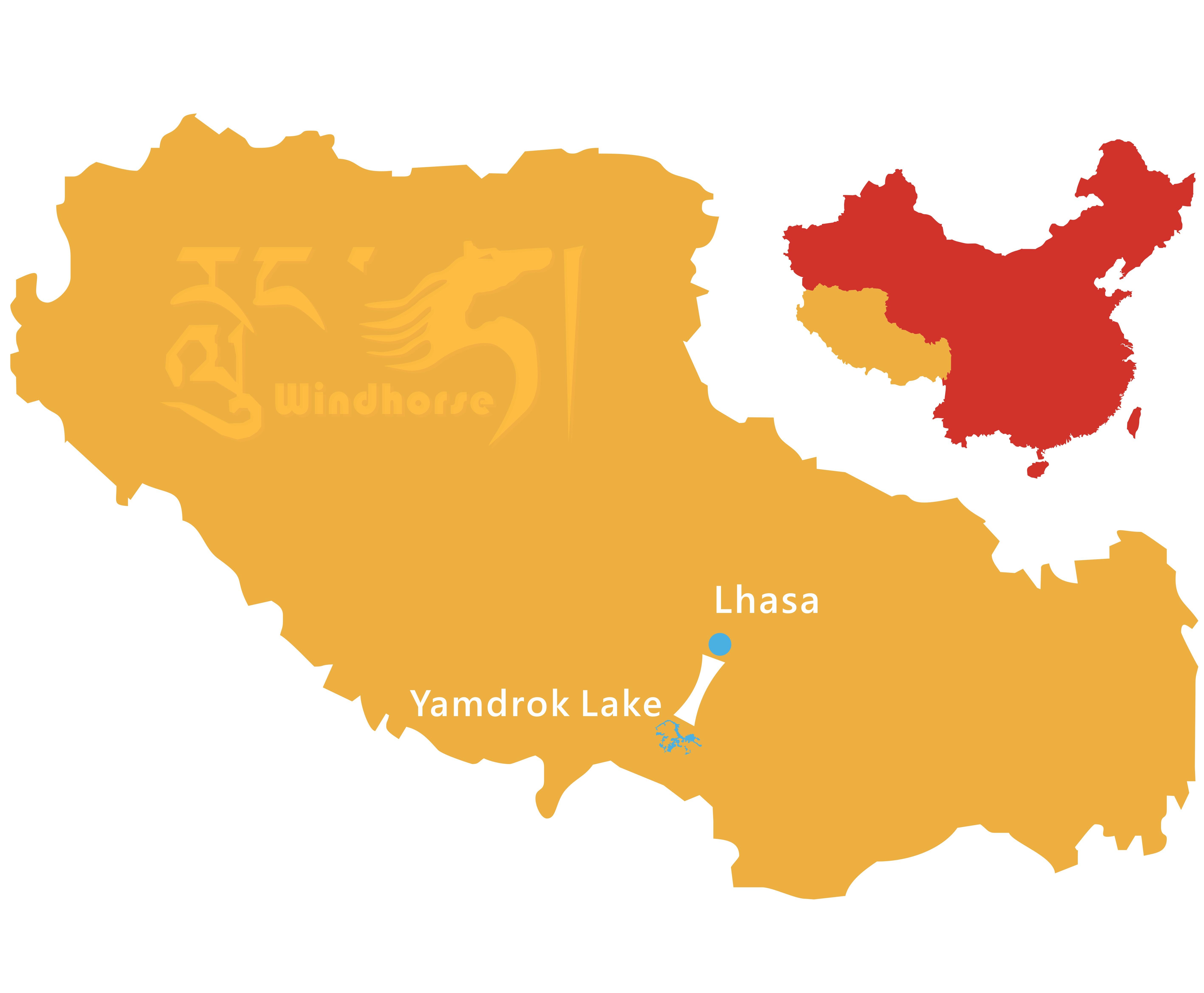 Lhasa to Yamdrok Tso Lake Tour Route