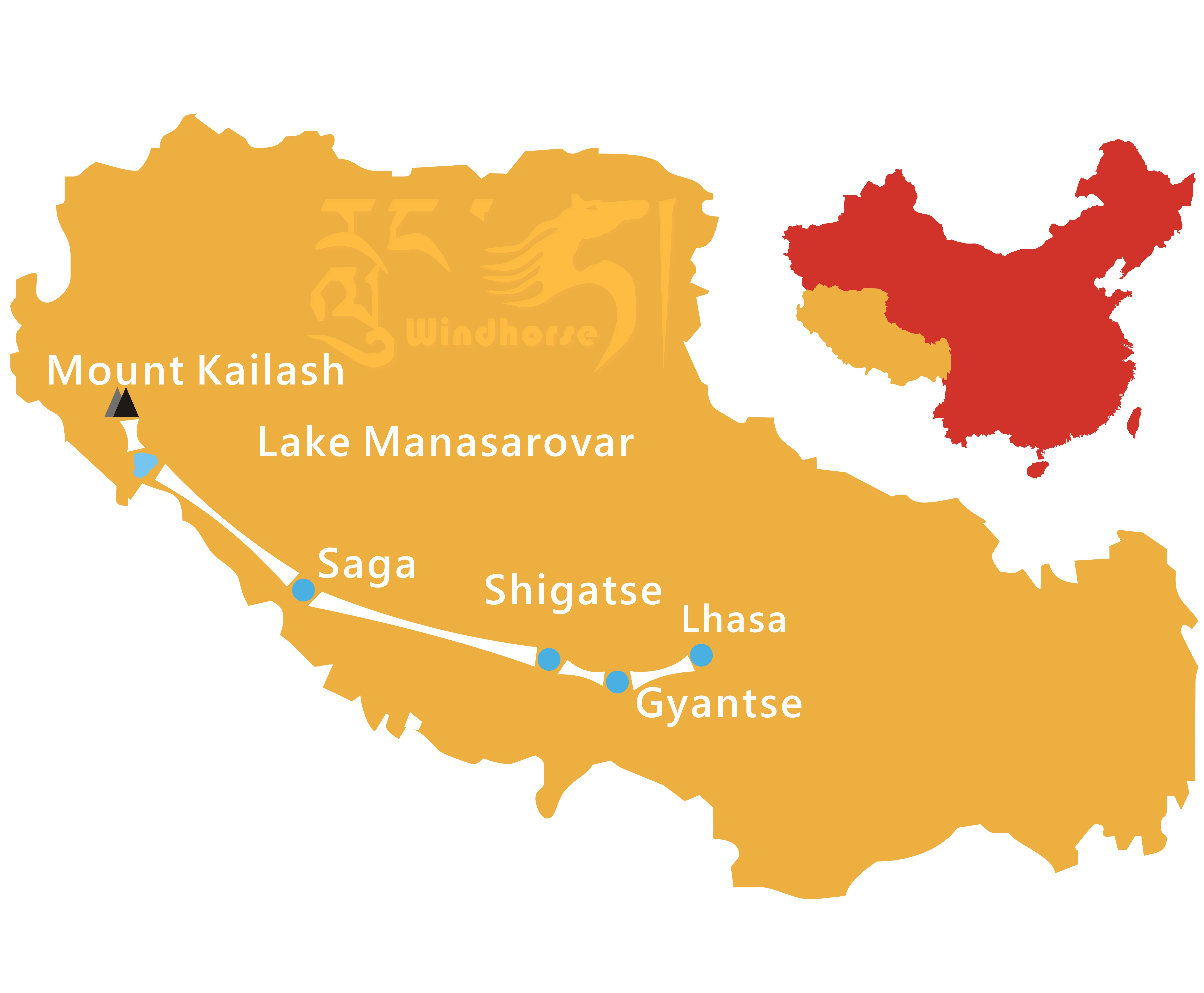 Mount Kailash Overland Tour Map