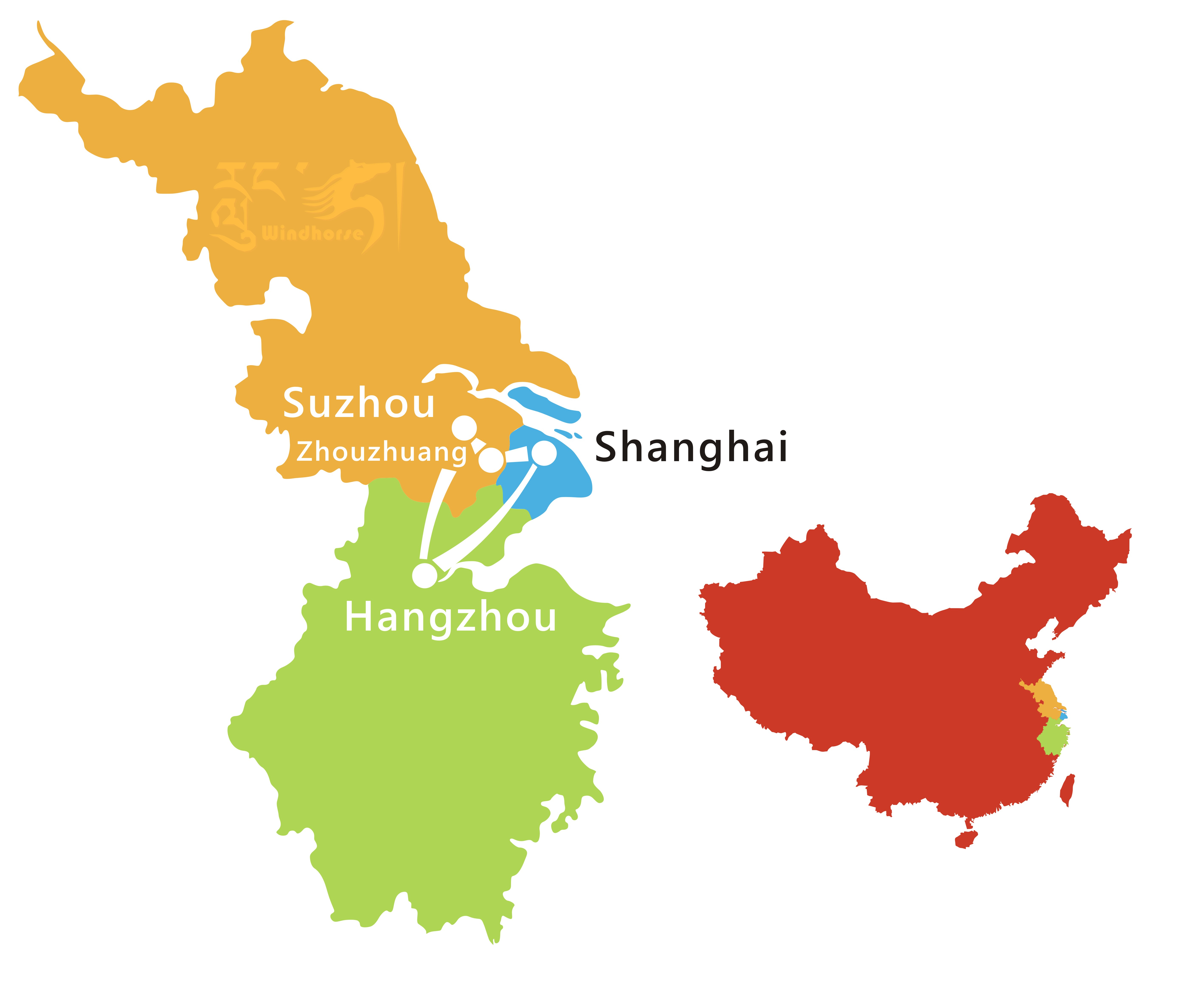 Shanghai Hangzhou Suzhou Tour Route