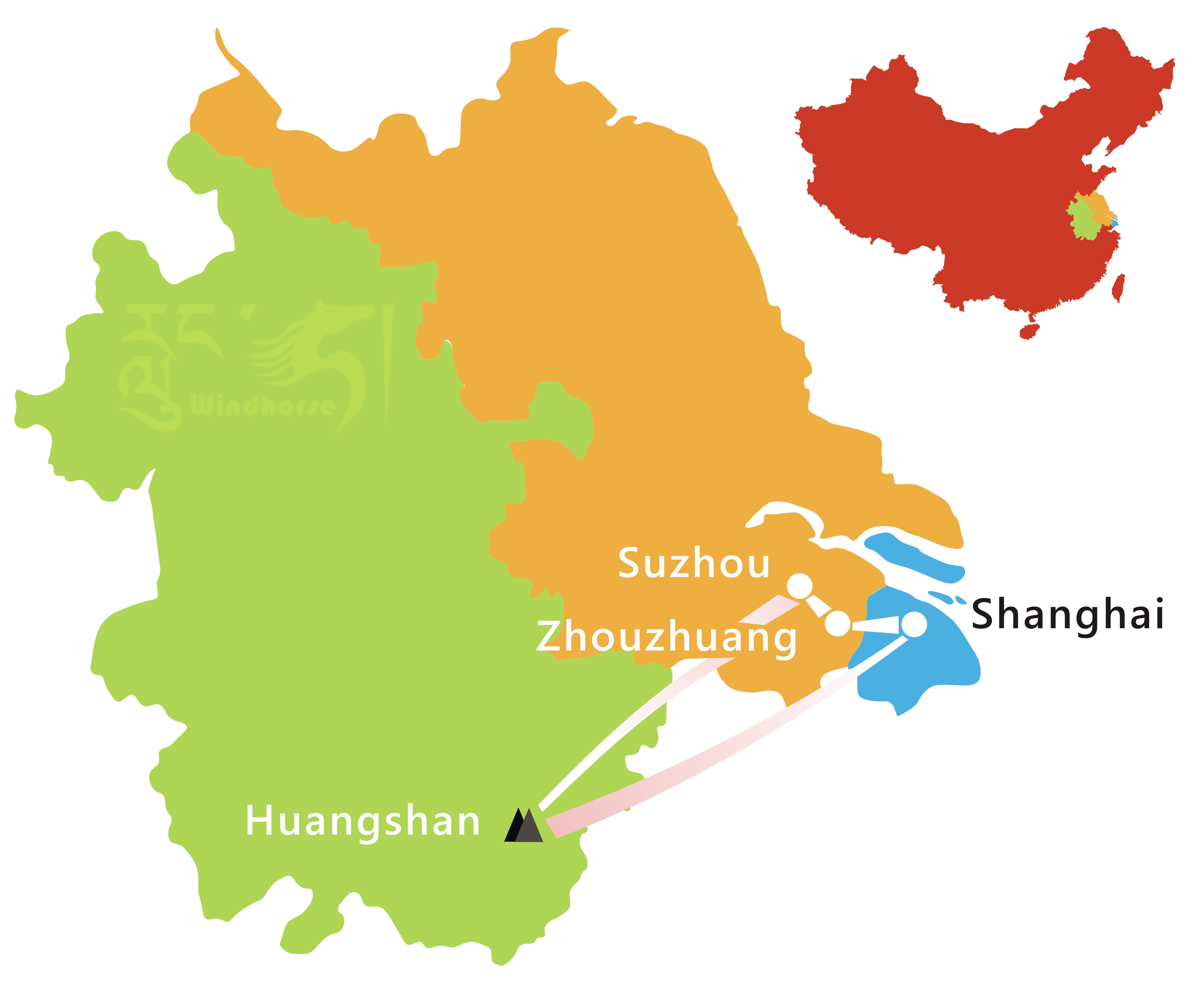 Shanghai Huangshan Hiking Tour Route