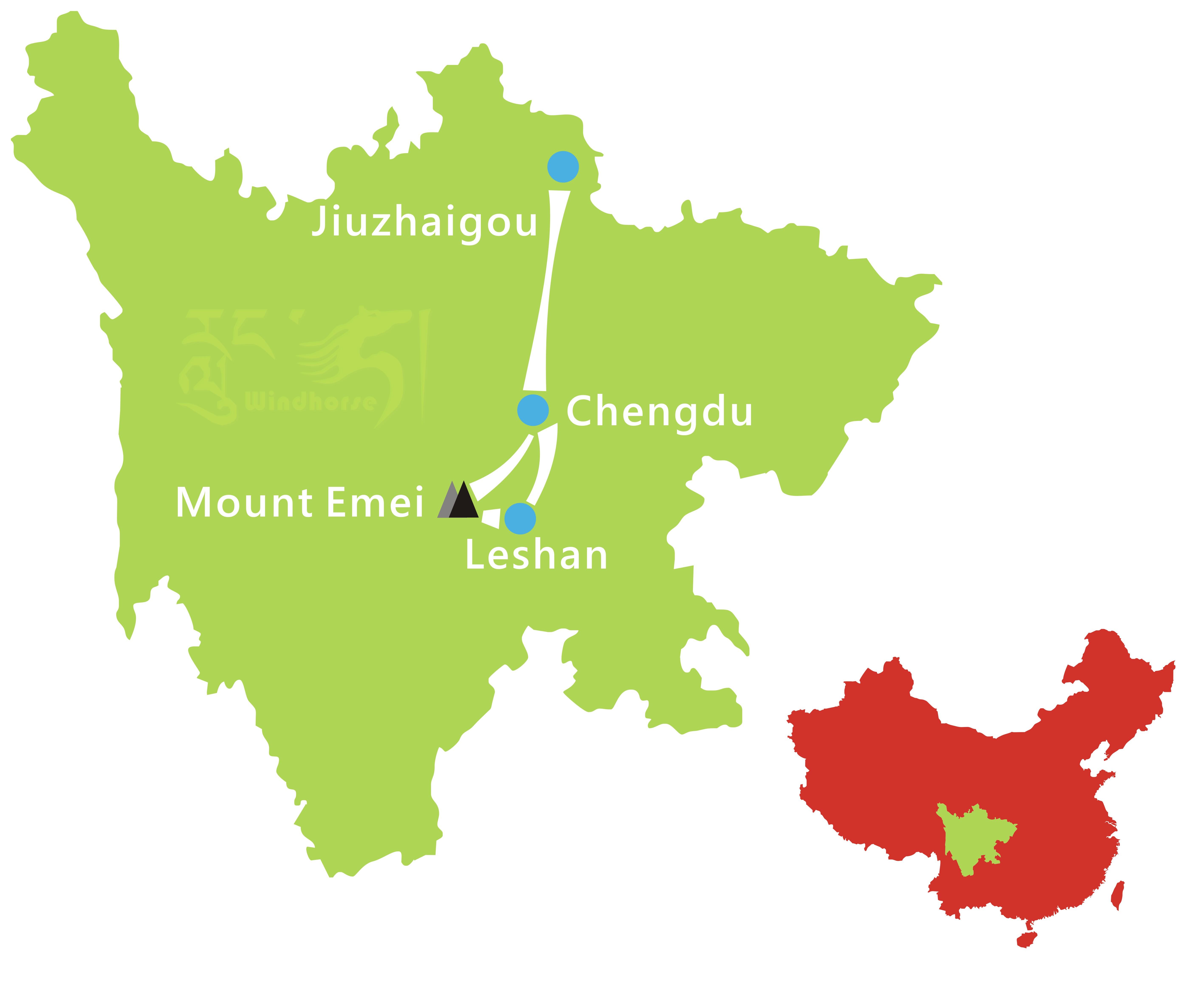 Jiuzhaigou Mount Emei Tour Route