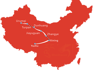 Map Of 15 Days Tibet Yushu Horse Race Festival Tour
