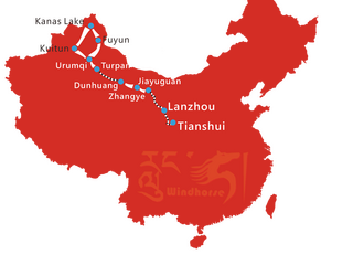 Map of 16 Day China Silk Road with Kanas Lake Tour
