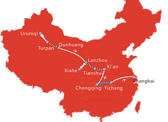 Map of 16 Days Silk Road and Yangtze River Cruise Tour