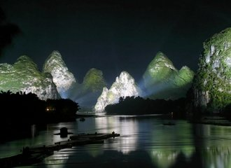 Guilin Mountains Landscape River China Night