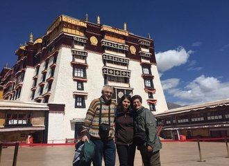 WindhorseTour's clients at front of Potala Palace