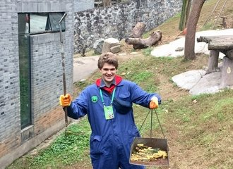 panda volunteering work happy tourist