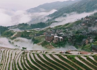 Longsheng Rice terraces in a raining day