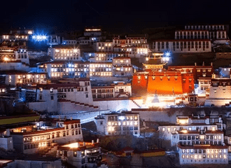 Night View of Ganden Monastery during Lotus Lantern Festival