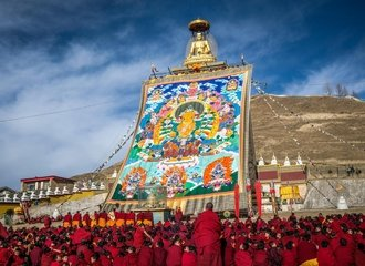 Giant Thangka display at Kirti monastery