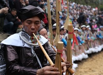 Lusheng playing and dancing at Gulong Lusheng festival