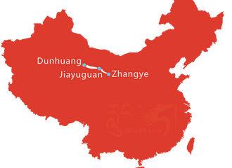 5 Day Map of Dunhuang Jiayuguan and Zhangye Tour
