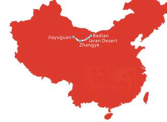 Map of 5 Day Zhangye Danxia and Badain Jaran Desert