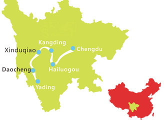 7 days hailuogou glacier yading nature reserve map
