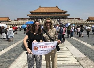 Angela and her mother at Beijing Forbidden City